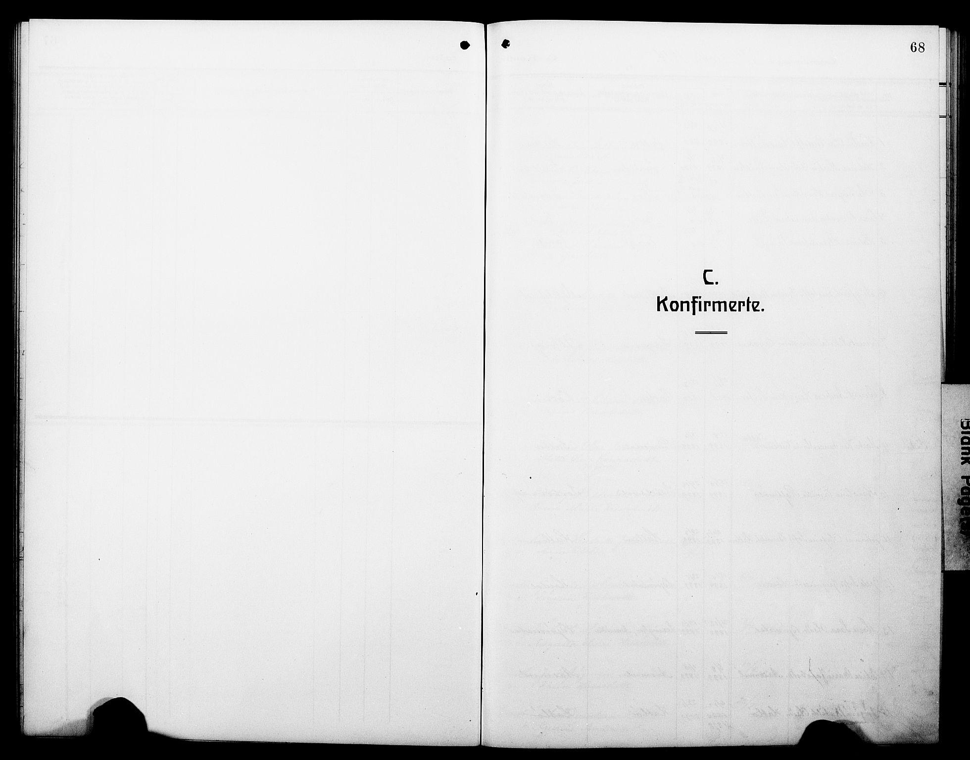 SAB, Hyllestad Sokneprestembete, Klokkerbok nr. C 4, 1914-1927, s. 68