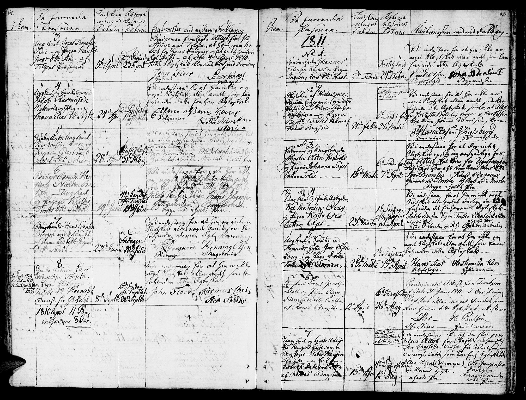 SAT, Ministerialprotokoller, klokkerbøker og fødselsregistre - Sør-Trøndelag, 681/L0928: Ministerialbok nr. 681A06, 1806-1816, s. 312-313