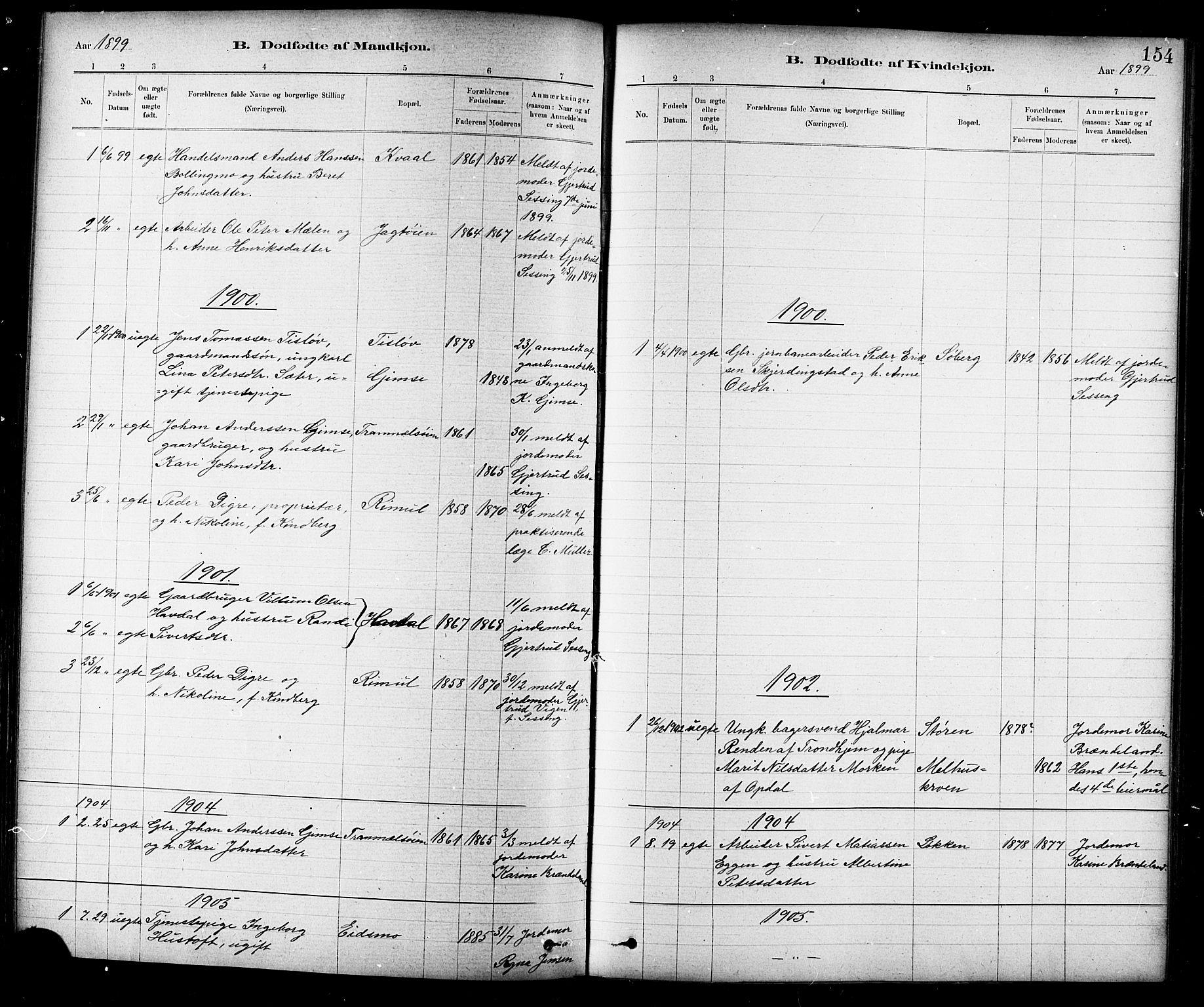 SAT, Ministerialprotokoller, klokkerbøker og fødselsregistre - Sør-Trøndelag, 691/L1094: Klokkerbok nr. 691C05, 1879-1911, s. 154