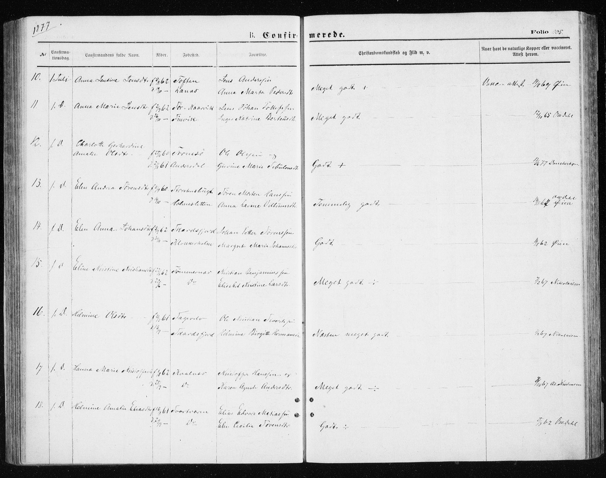 SATØ, Tromsøysund sokneprestkontor, G/Ga/L0003kirke: Ministerialbok nr. 3, 1875-1880, s. 105