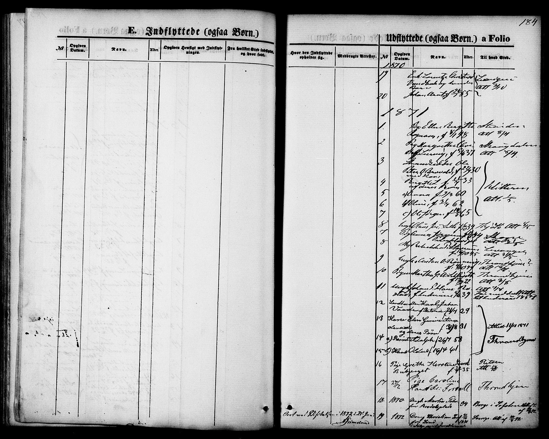 SAT, Ministerialprotokoller, klokkerbøker og fødselsregistre - Nord-Trøndelag, 744/L0419: Ministerialbok nr. 744A03, 1867-1881, s. 184
