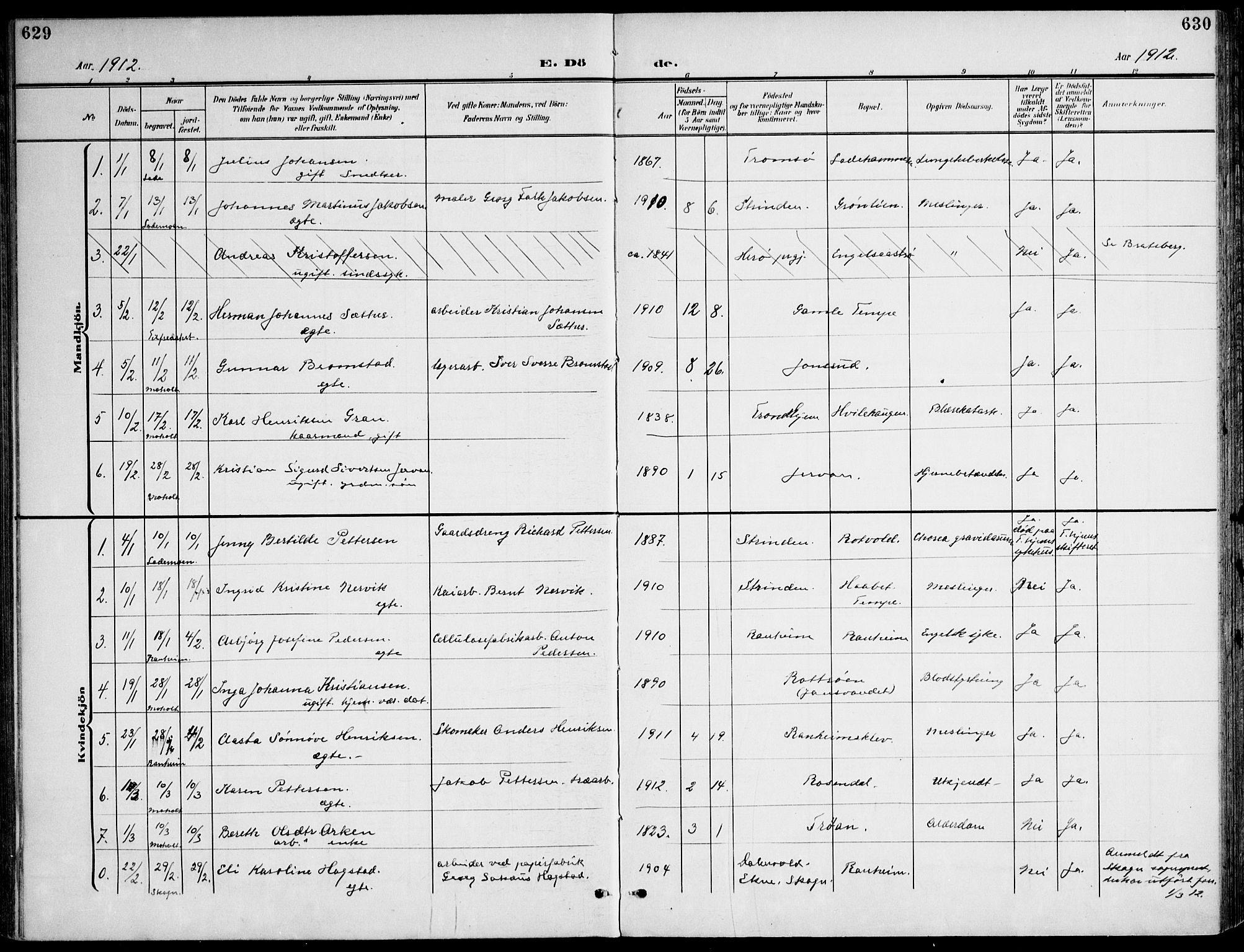 SAT, Ministerialprotokoller, klokkerbøker og fødselsregistre - Sør-Trøndelag, 607/L0320: Ministerialbok nr. 607A04, 1907-1915, s. 629-630