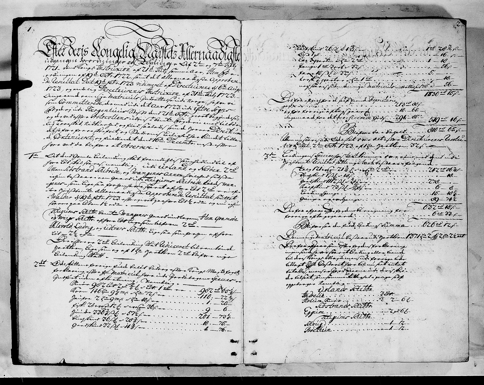 RA, Rentekammeret inntil 1814, Realistisk ordnet avdeling, N/Nb/Nbf/L0145: Ytre Sogn matrikkelprotokoll, 1723, s. 1-2