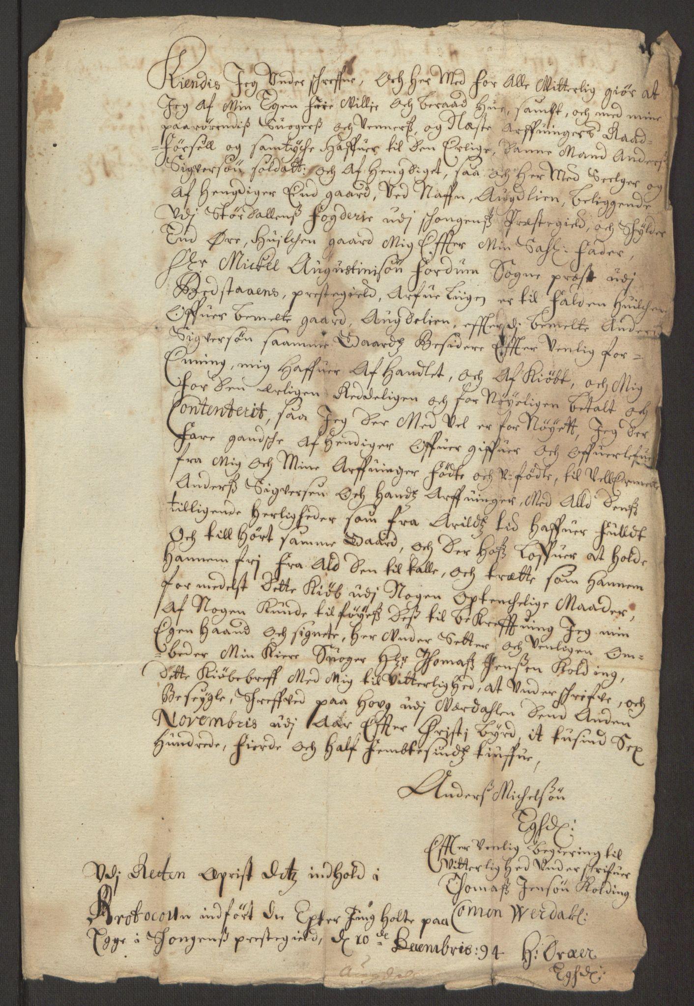 RA, Rentekammeret inntil 1814, Reviderte regnskaper, Fogderegnskap, R62/L4187: Fogderegnskap Stjørdal og Verdal, 1695, s. 217