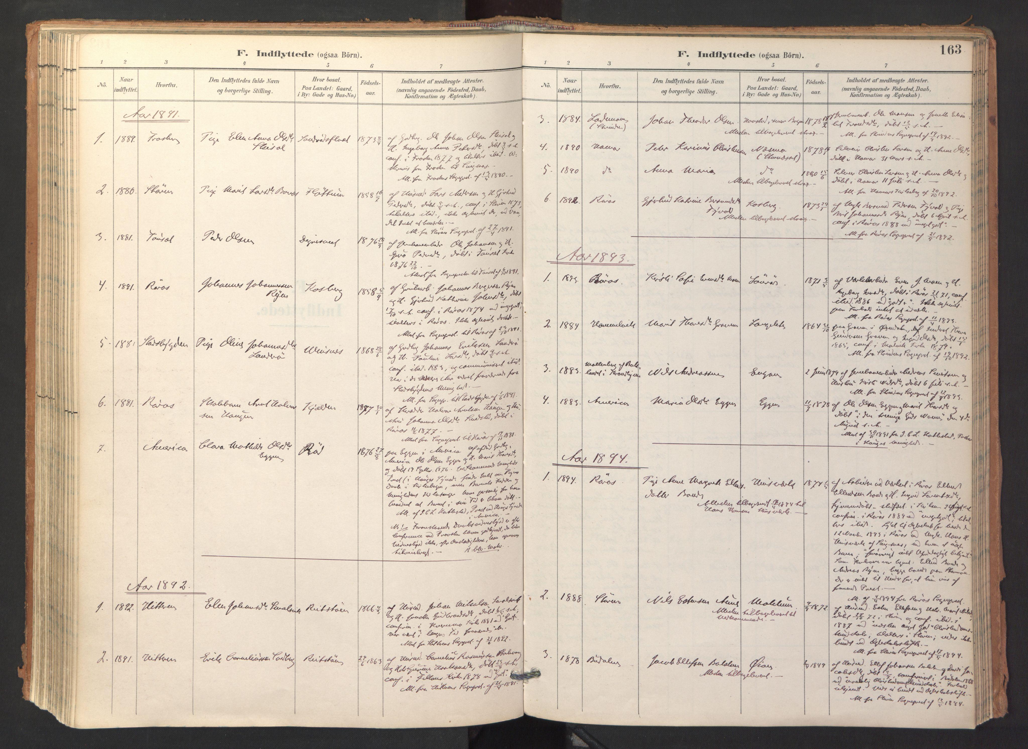 SAT, Ministerialprotokoller, klokkerbøker og fødselsregistre - Sør-Trøndelag, 688/L1025: Ministerialbok nr. 688A02, 1891-1909, s. 163
