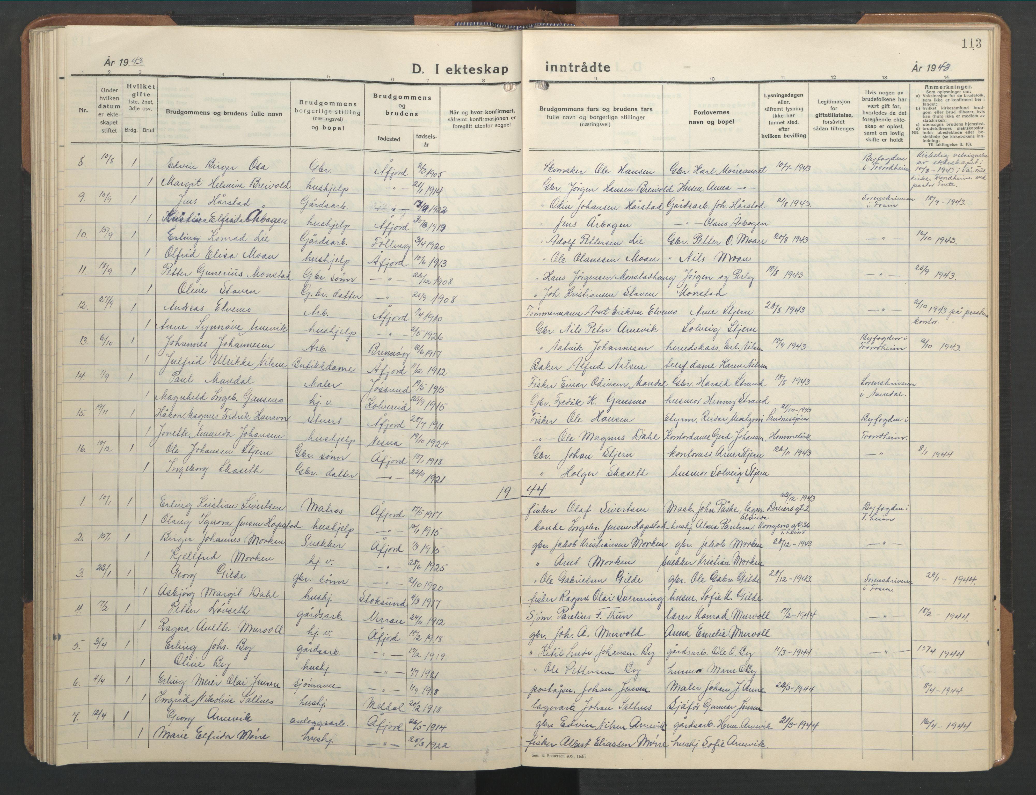 SAT, Ministerialprotokoller, klokkerbøker og fødselsregistre - Sør-Trøndelag, 655/L0690: Klokkerbok nr. 655C06, 1937-1950, s. 113