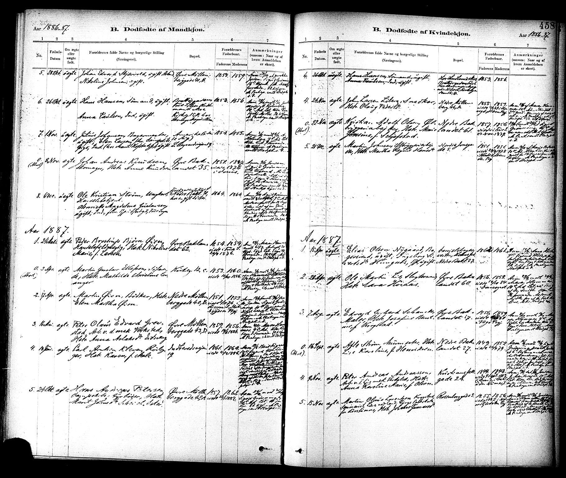 SAT, Ministerialprotokoller, klokkerbøker og fødselsregistre - Sør-Trøndelag, 604/L0188: Ministerialbok nr. 604A09, 1878-1892, s. 458