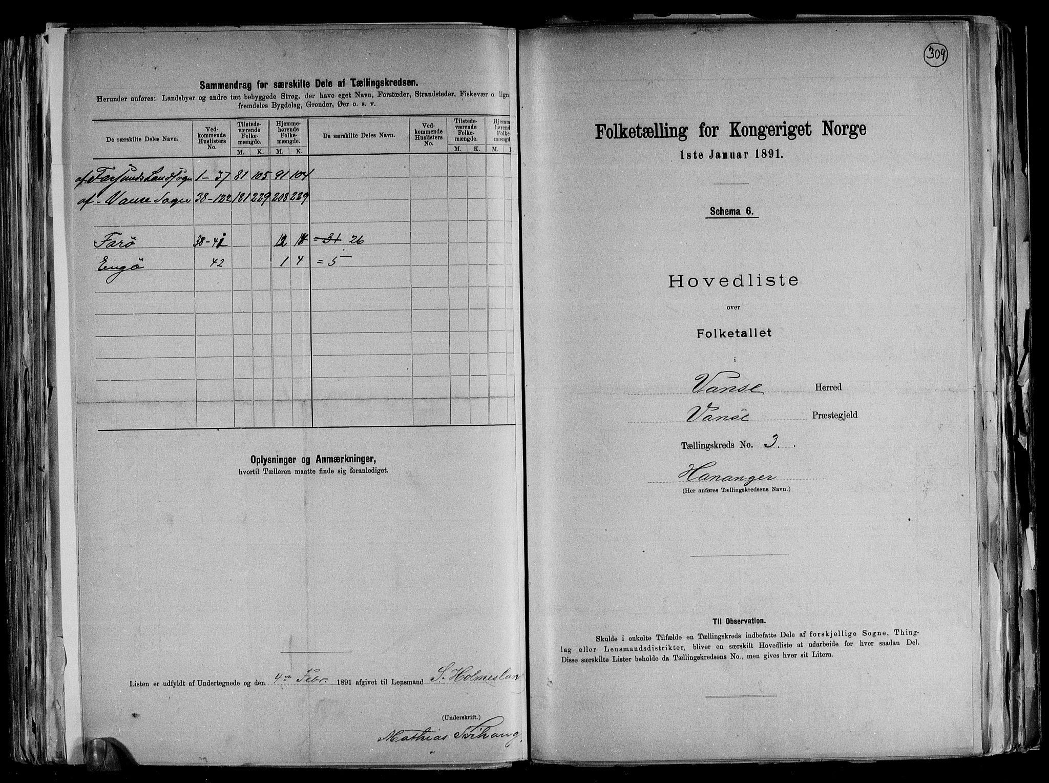 RA, Folketelling 1891 for 1041 Vanse herred, 1891, s. 16