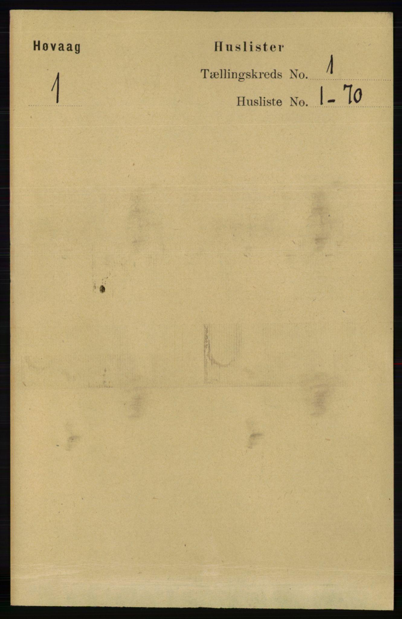 RA, Folketelling 1891 for 0927 Høvåg herred, 1891, s. 18