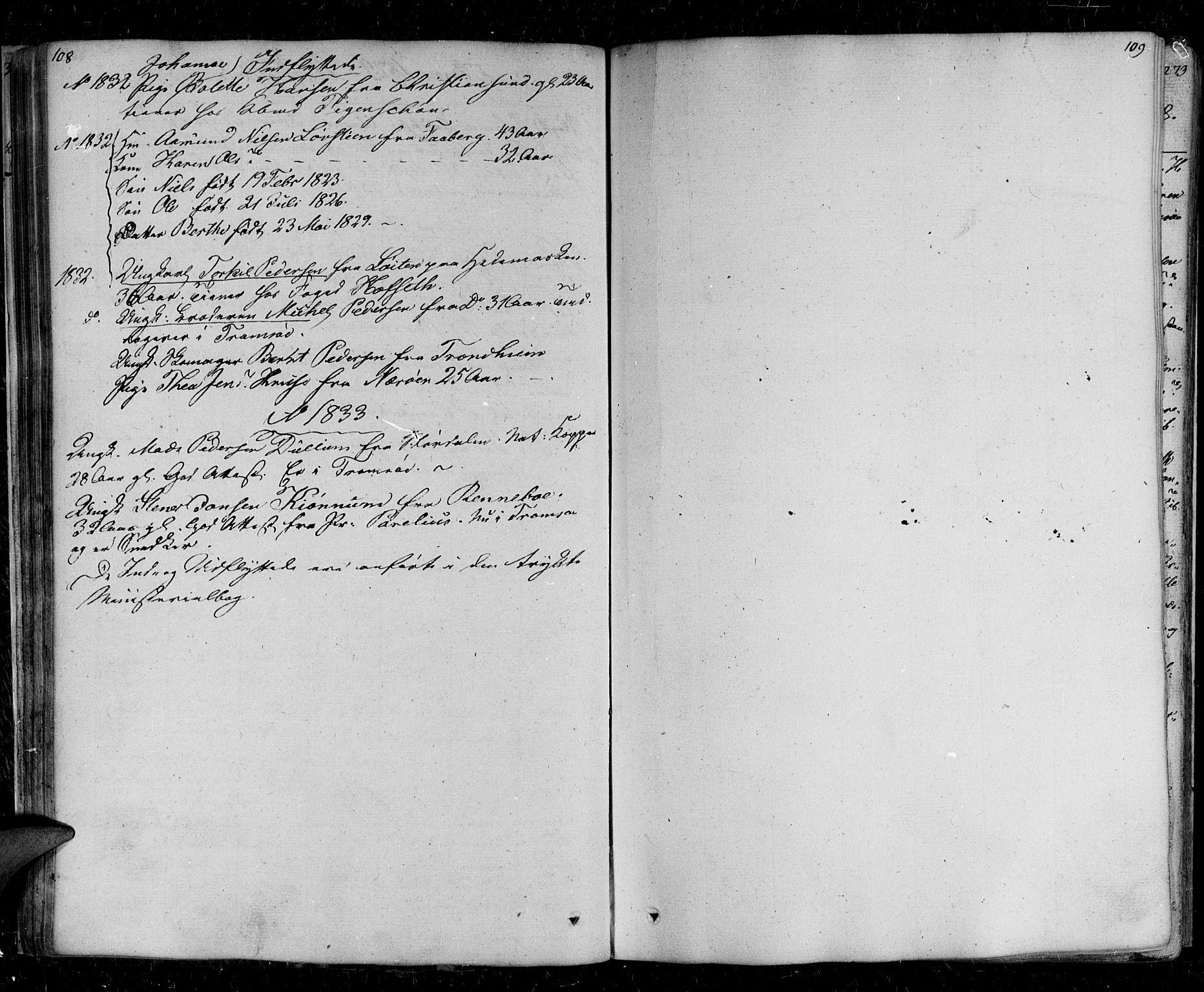 SATØ, Tromsø sokneprestkontor/stiftsprosti/domprosti, G/Ga/L0008kirke: Ministerialbok nr. 8, 1829-1837, s. 108-109