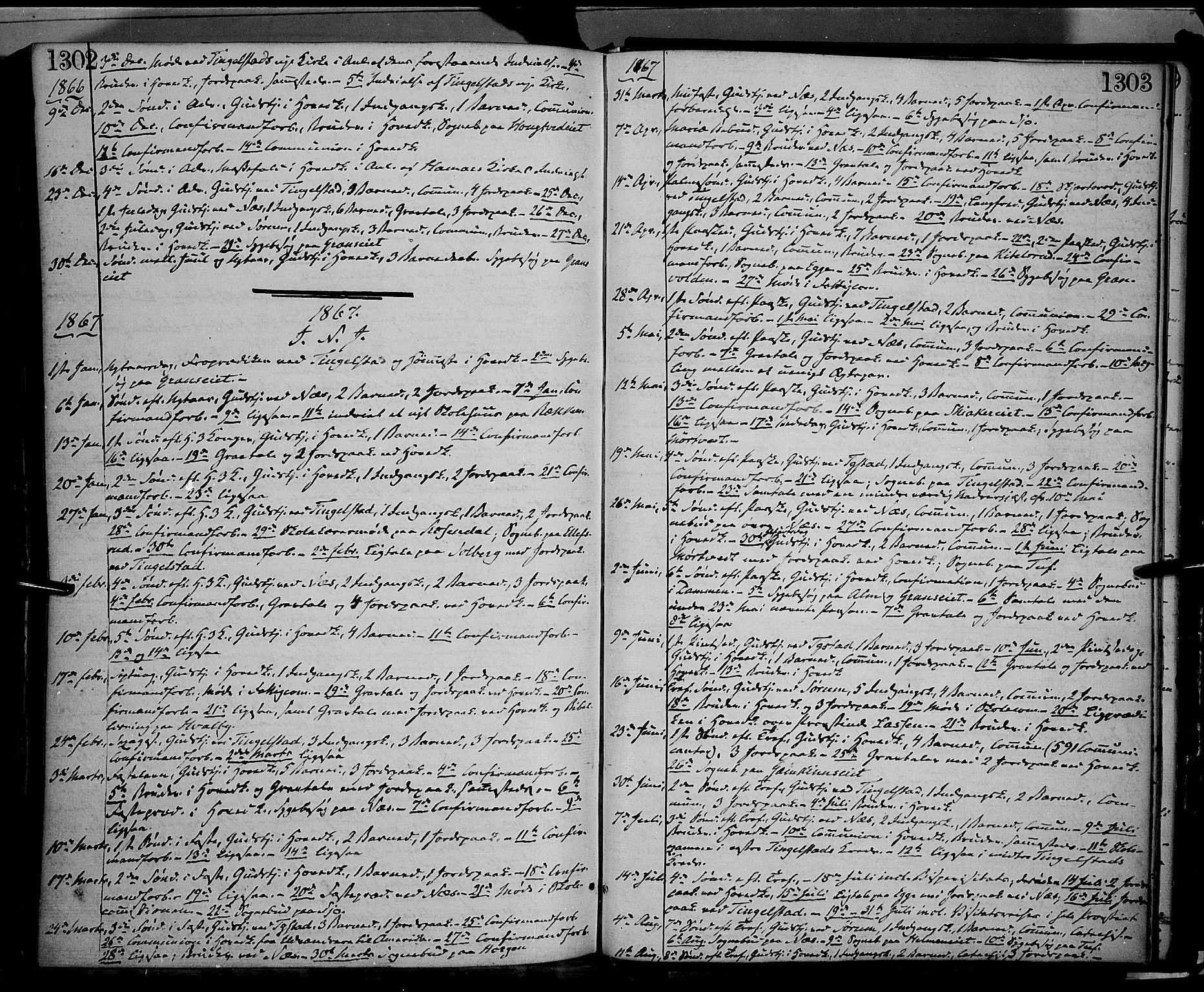 SAH, Gran prestekontor, Ministerialbok nr. 12, 1856-1874, s. 1302-1303