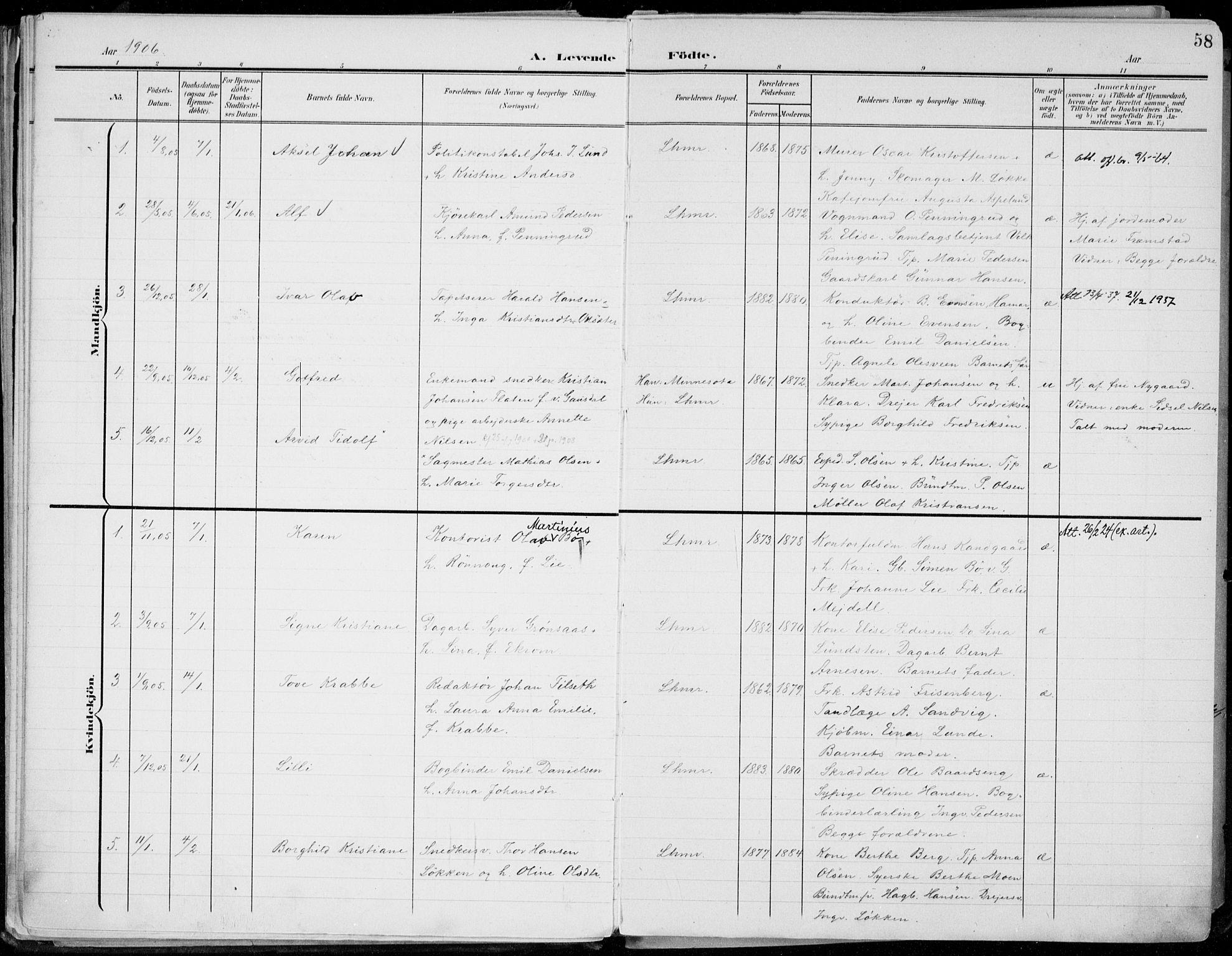 SAH, Lillehammer prestekontor, Ministerialbok nr. 1, 1901-1916, s. 58