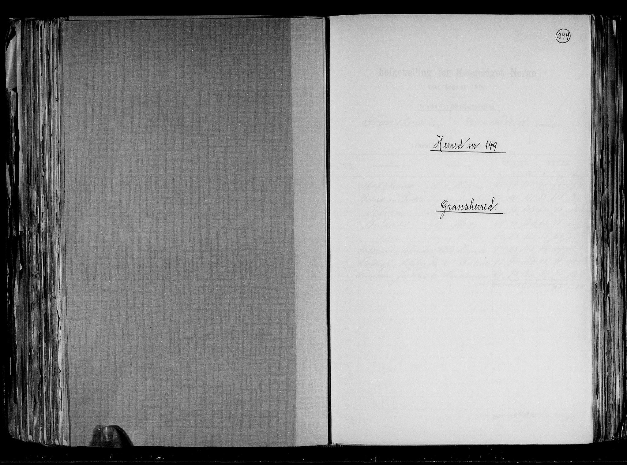 RA, Folketelling 1891 for 0824 Gransherad herred, 1891, s. 1
