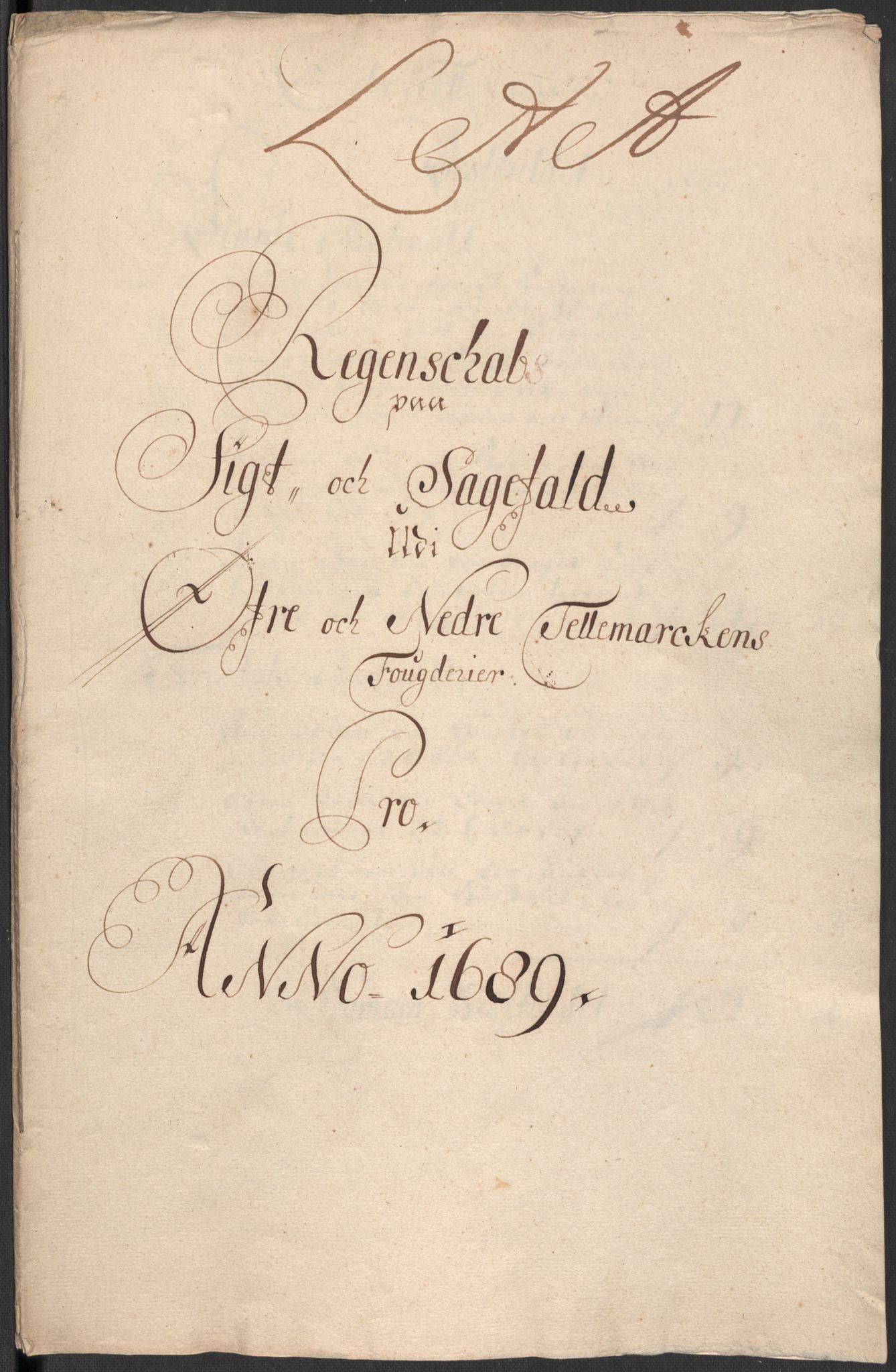 RA, Rentekammeret inntil 1814, Reviderte regnskaper, Fogderegnskap, R35/L2088: Fogderegnskap Øvre og Nedre Telemark, 1687-1689, s. 3