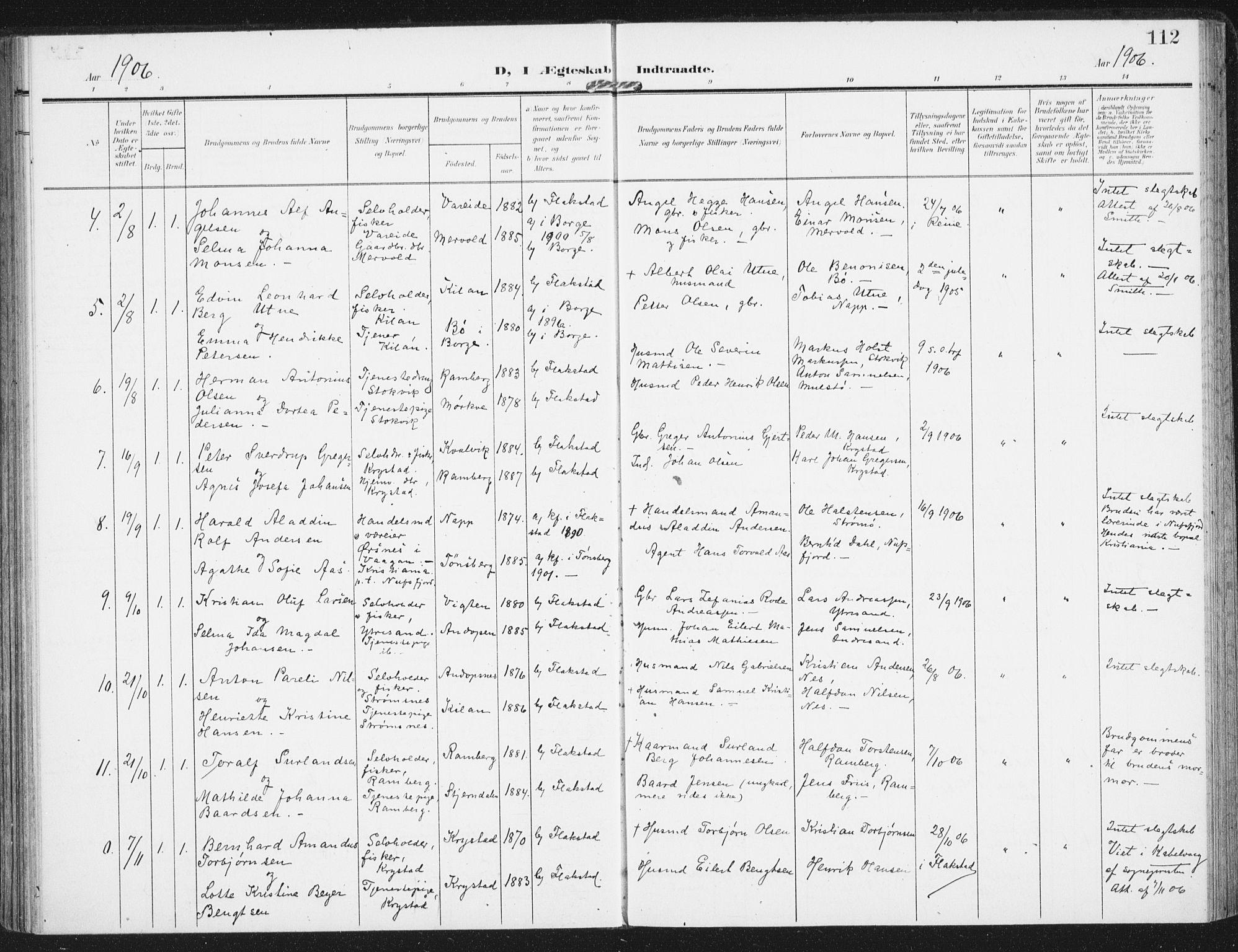 SAT, Ministerialprotokoller, klokkerbøker og fødselsregistre - Nordland, 885/L1206: Ministerialbok nr. 885A07, 1905-1915, s. 112