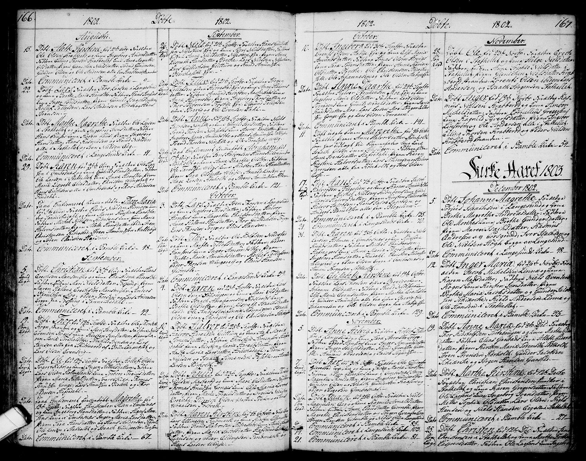 SAKO, Bamble kirkebøker, F/Fa/L0002: Ministerialbok nr. I 2, 1775-1814, s. 166-167