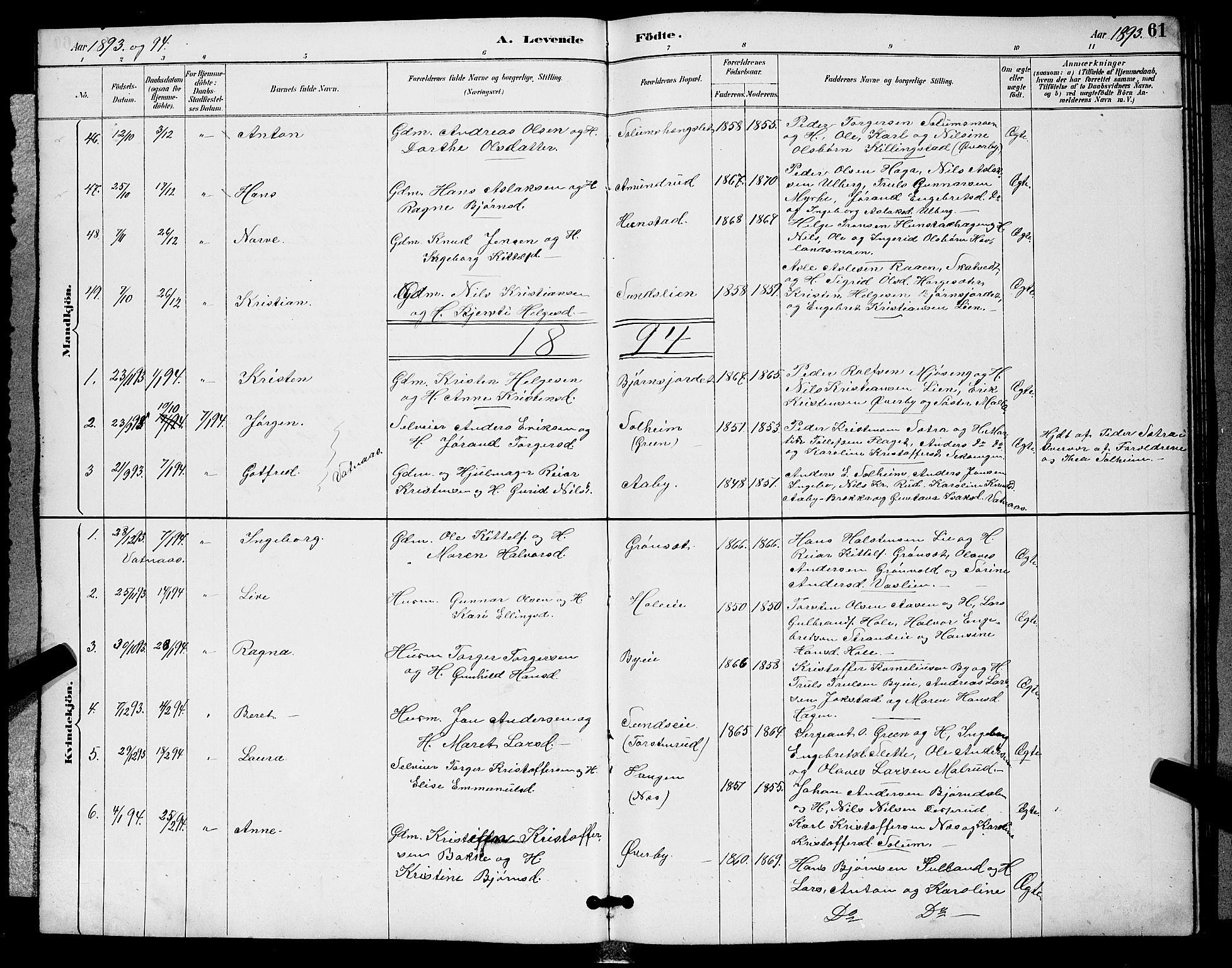 SAKO, Sigdal kirkebøker, G/Ga/L0005: Klokkerbok nr. I 5, 1886-1900, s. 61