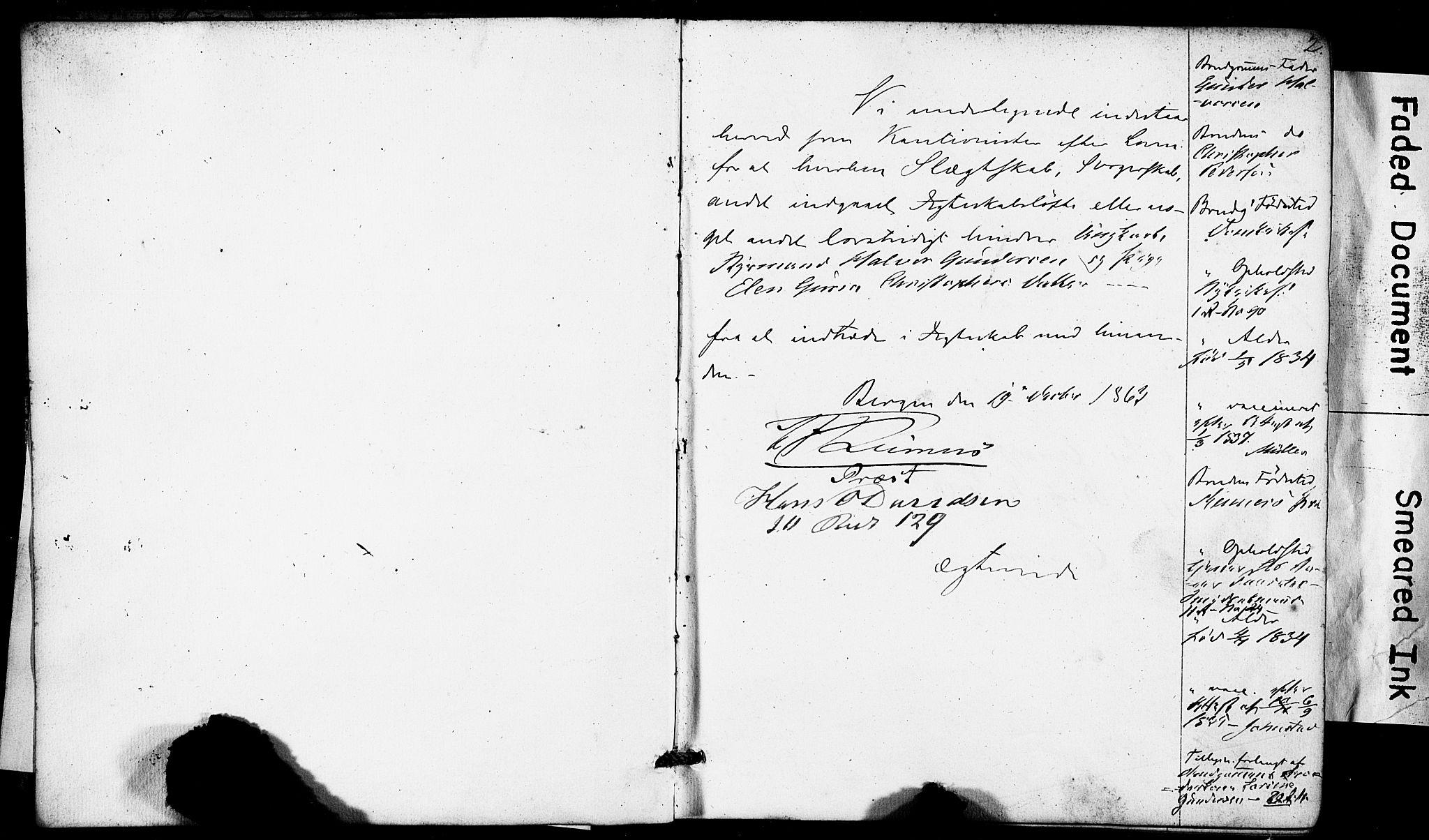 SAB, Domkirken Sokneprestembete, Forlovererklæringer nr. II.5.6, 1863-1870, s. 2