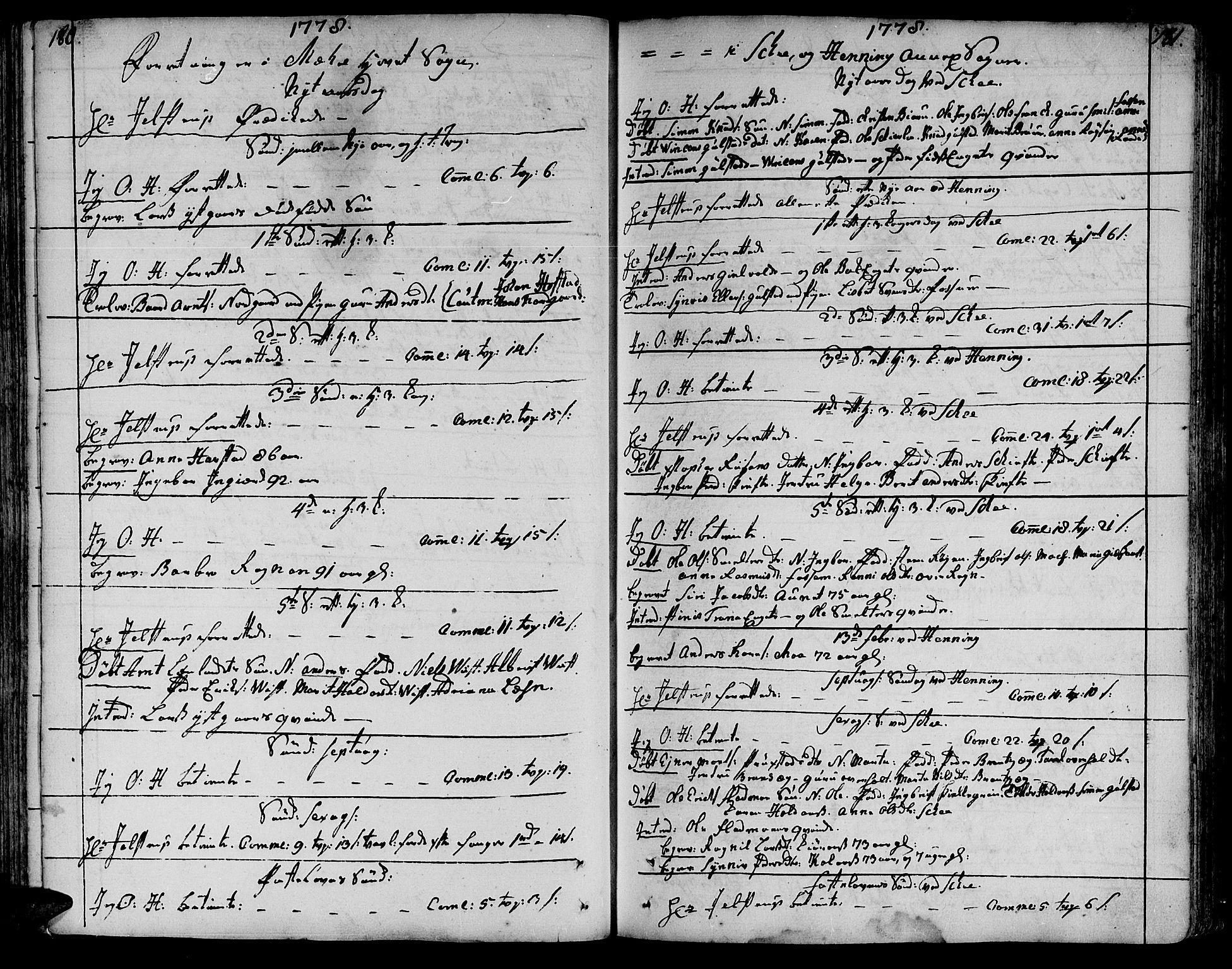 SAT, Ministerialprotokoller, klokkerbøker og fødselsregistre - Nord-Trøndelag, 735/L0331: Ministerialbok nr. 735A02, 1762-1794, s. 180-181