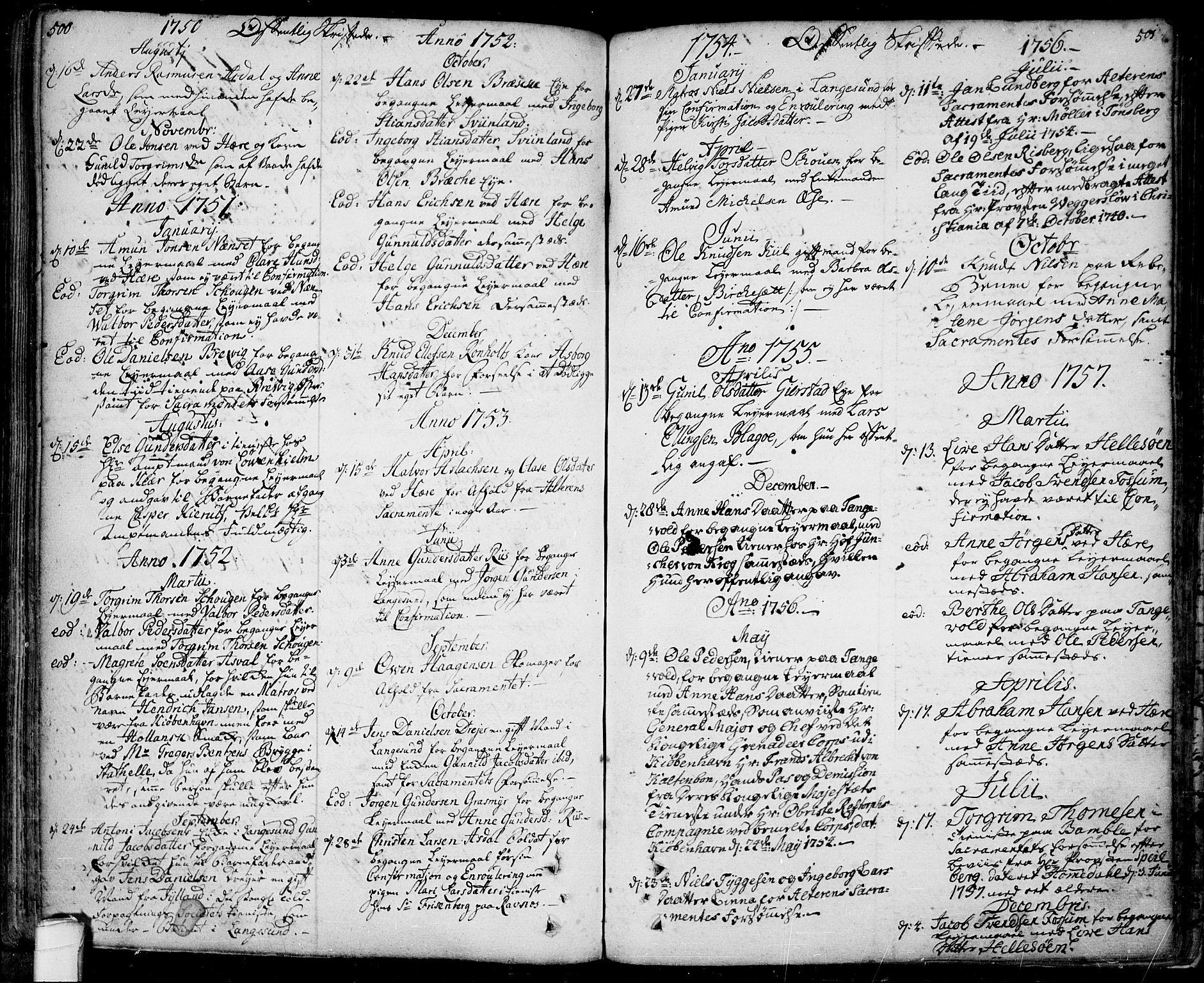 SAKO, Bamble kirkebøker, F/Fa/L0001: Ministerialbok nr. I 1, 1702-1774, s. 500-501