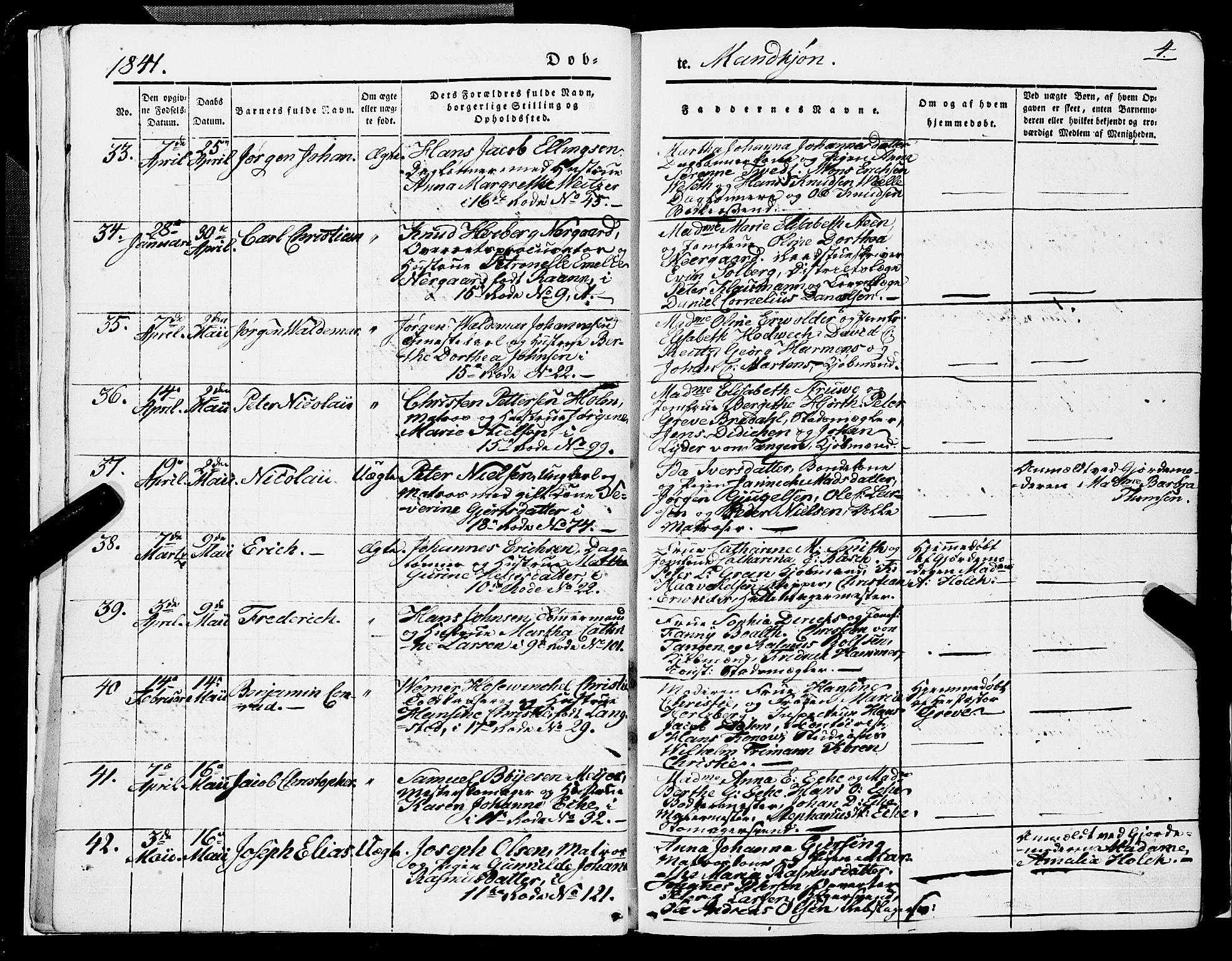 SAB, Domkirken sokneprestembete, H/Haa/L0019: Ministerialbok nr. B 2, 1841-1851, s. 4