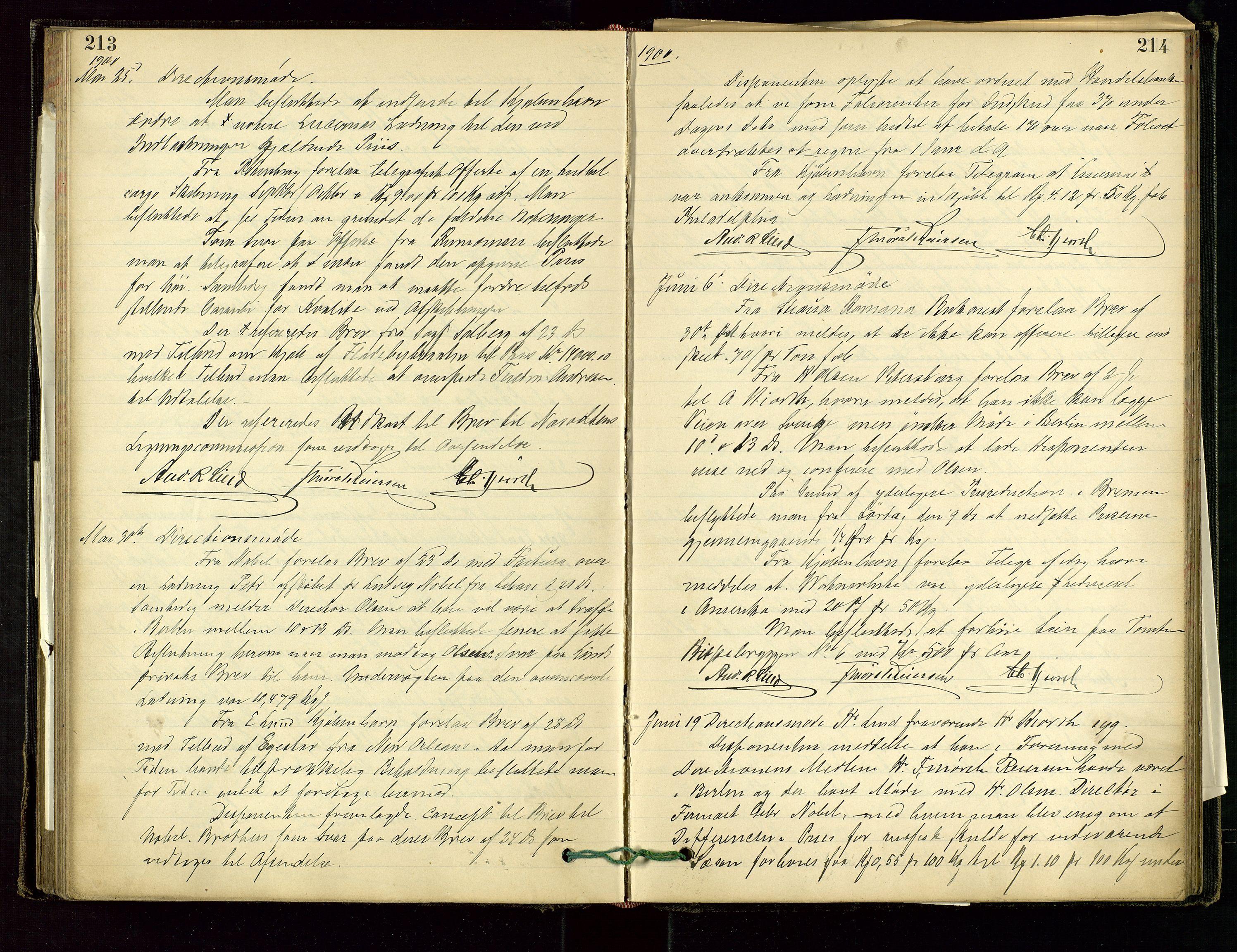 SAST, PA 1534 - Østlandske Petroleumscompagni A/S, A/Aa/L0001: Generalforsamlinger og direksjonsprotokoller., 1892-1905, s. 213-214