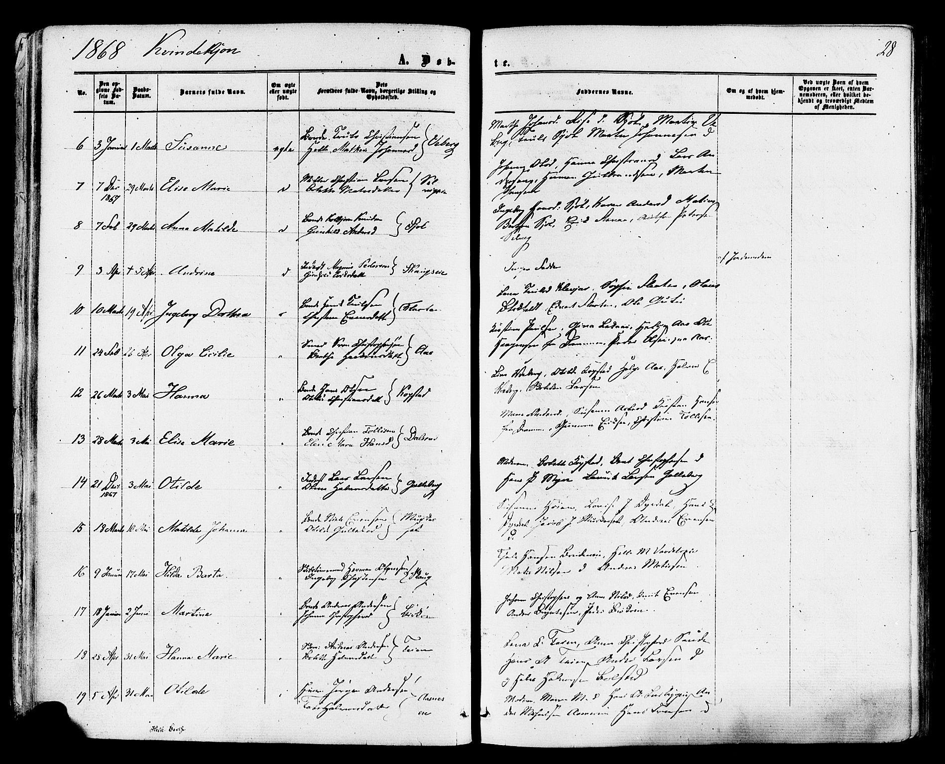 SAKO, Sande Kirkebøker, F/Fa/L0005: Ministerialbok nr. 5, 1865-1877, s. 28