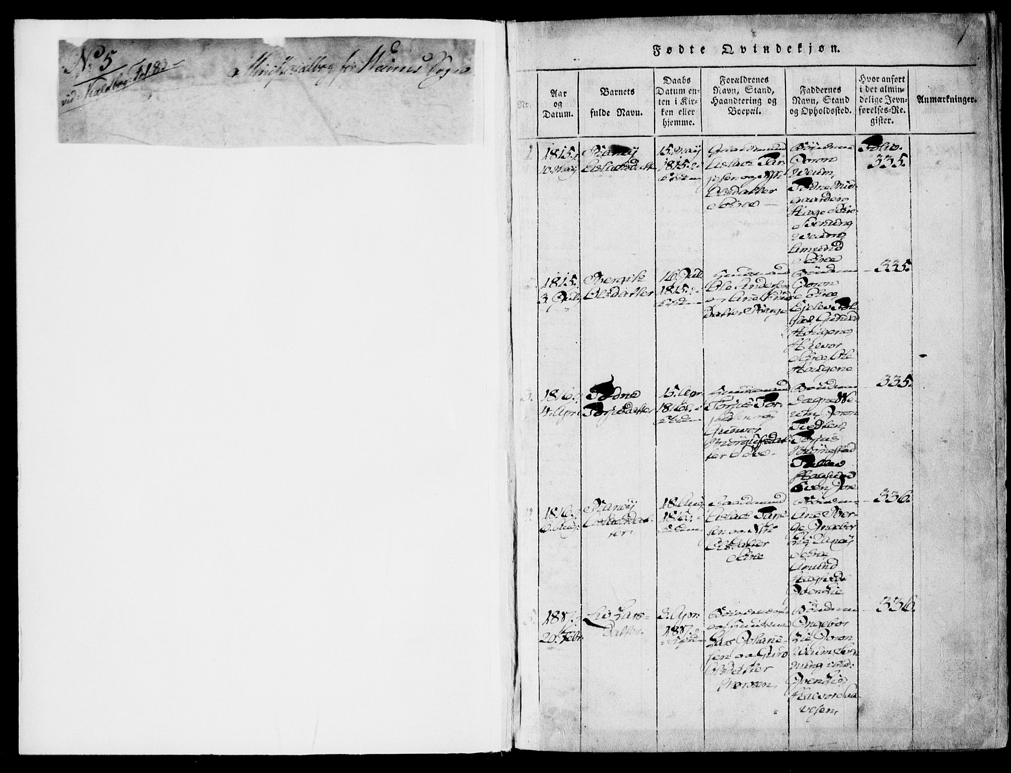 SAKO, Fyresdal kirkebøker, F/Fb/L0001: Ministerialbok nr. II 1, 1815-1854, s. 1