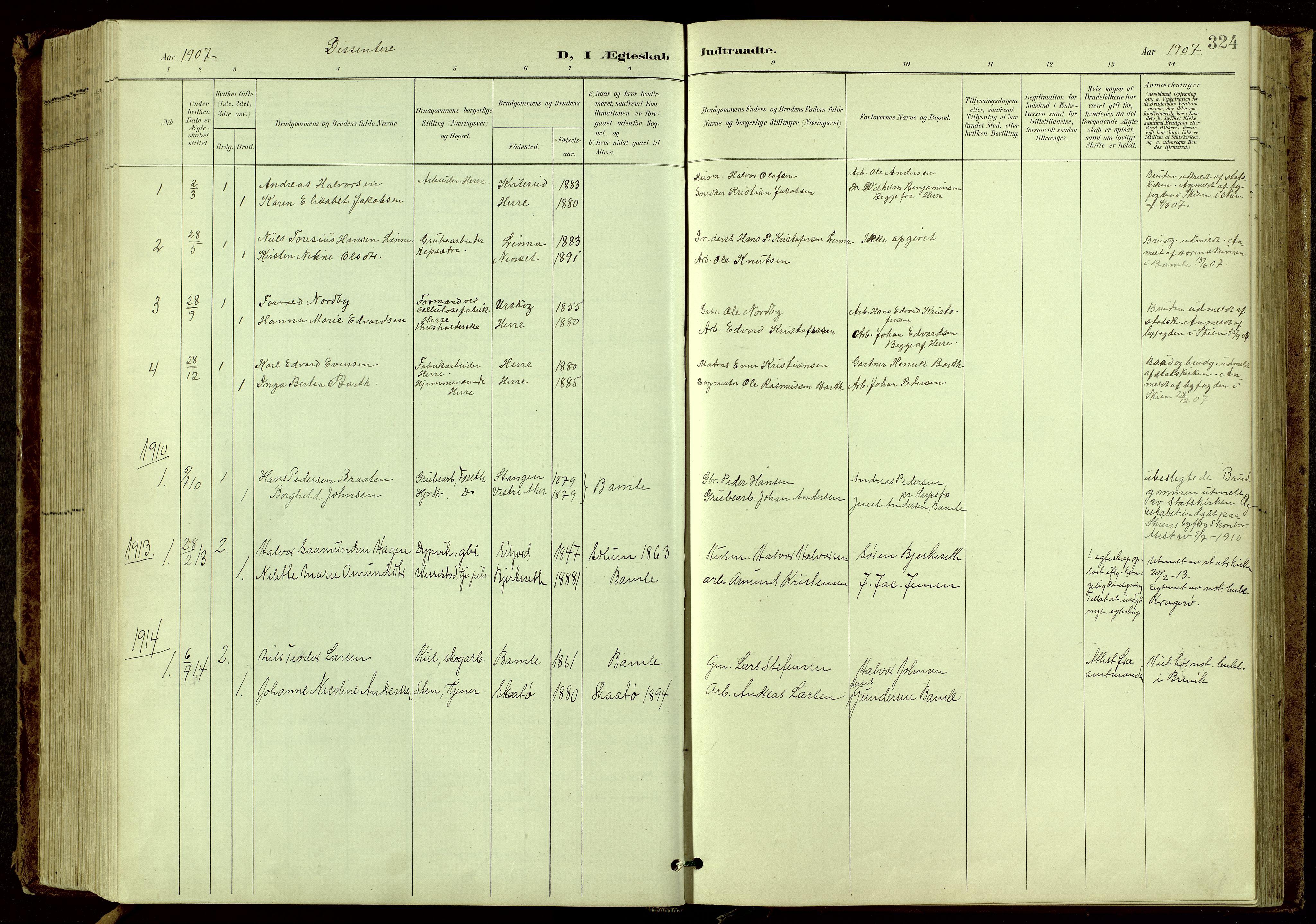 SAKO, Bamble kirkebøker, G/Ga/L0010: Klokkerbok nr. I 10, 1901-1919, s. 324