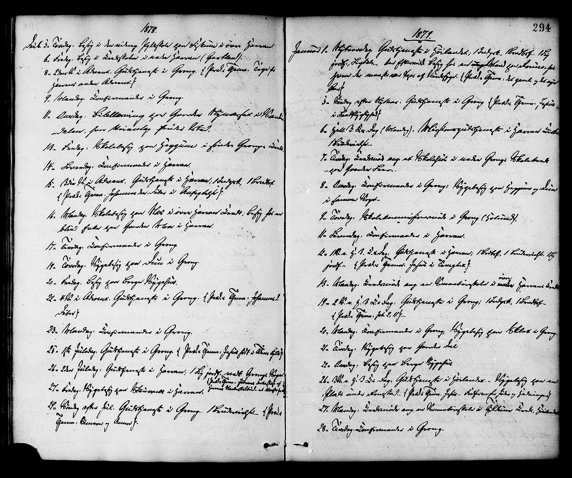 SAT, Ministerialprotokoller, klokkerbøker og fødselsregistre - Nord-Trøndelag, 758/L0516: Ministerialbok nr. 758A03 /1, 1869-1879, s. 294