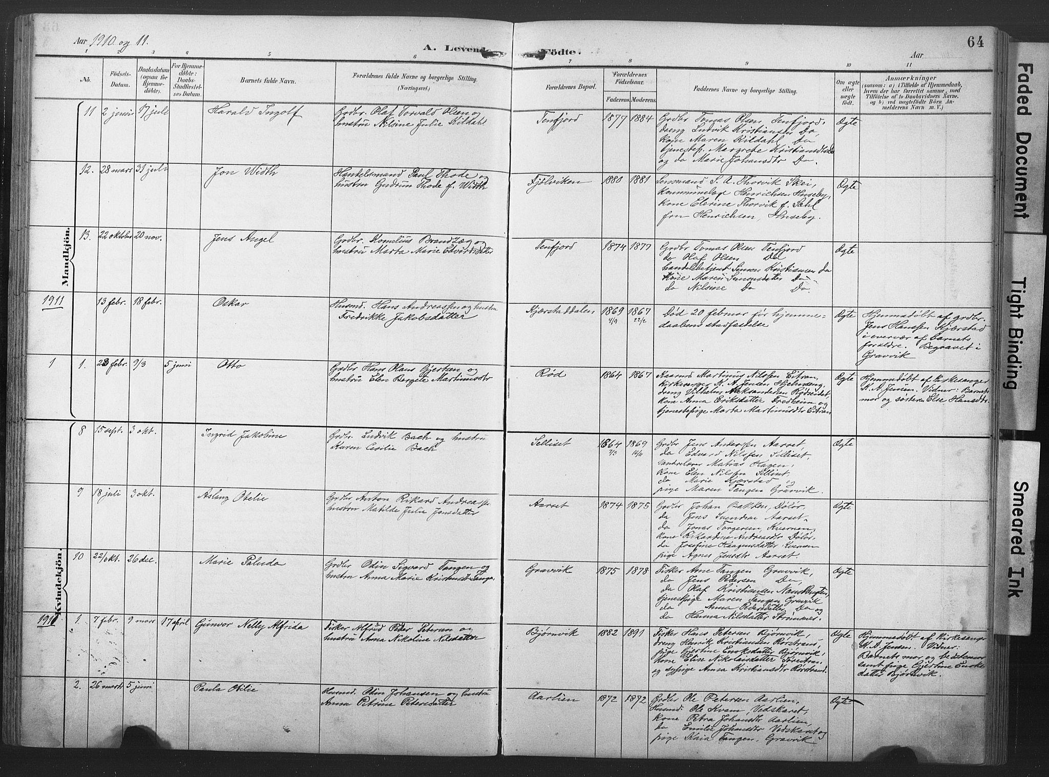 SAT, Ministerialprotokoller, klokkerbøker og fødselsregistre - Nord-Trøndelag, 789/L0706: Klokkerbok nr. 789C01, 1888-1931, s. 64