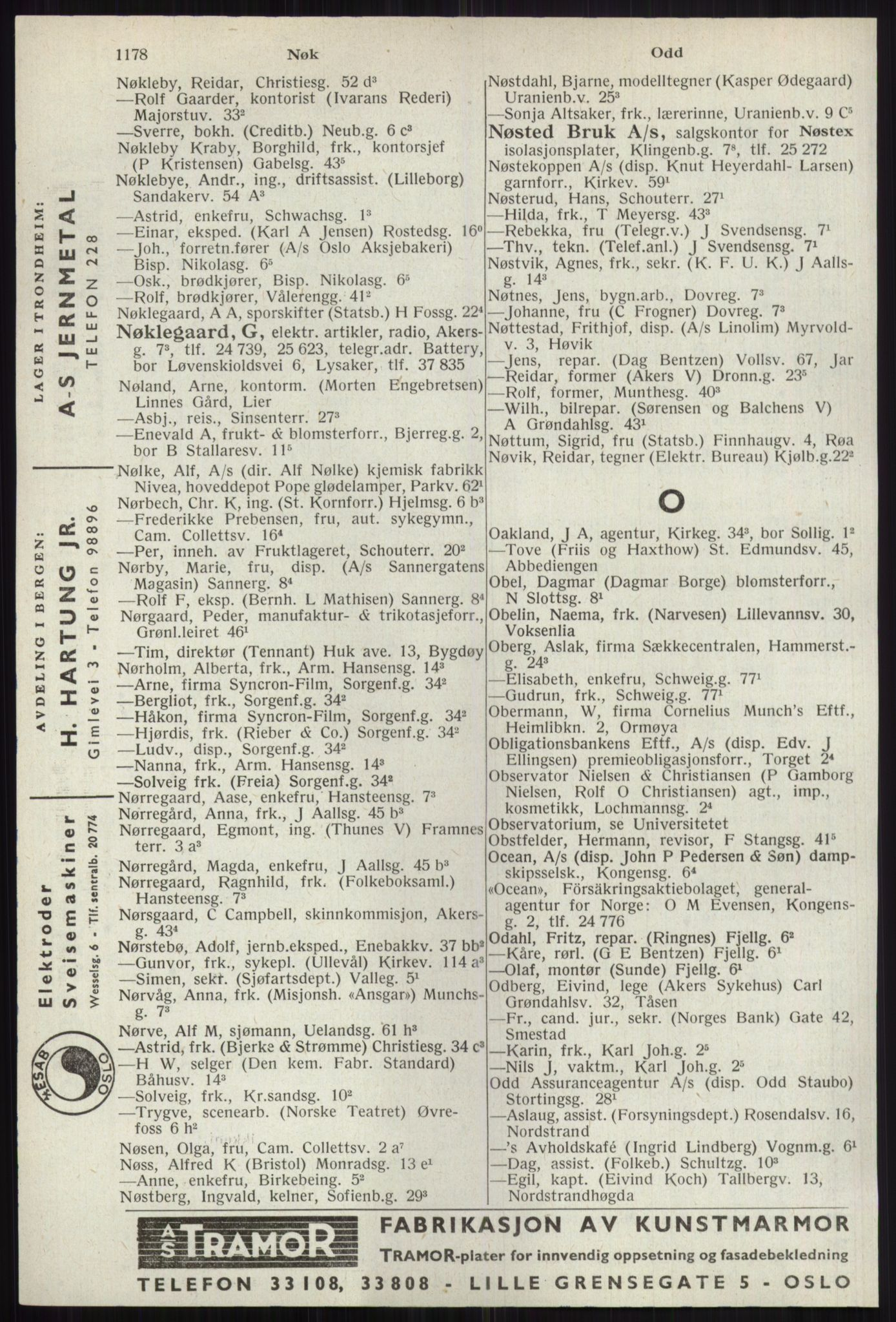 RA, Oslo adressebok (publikasjon)*, 1941, s. 1178