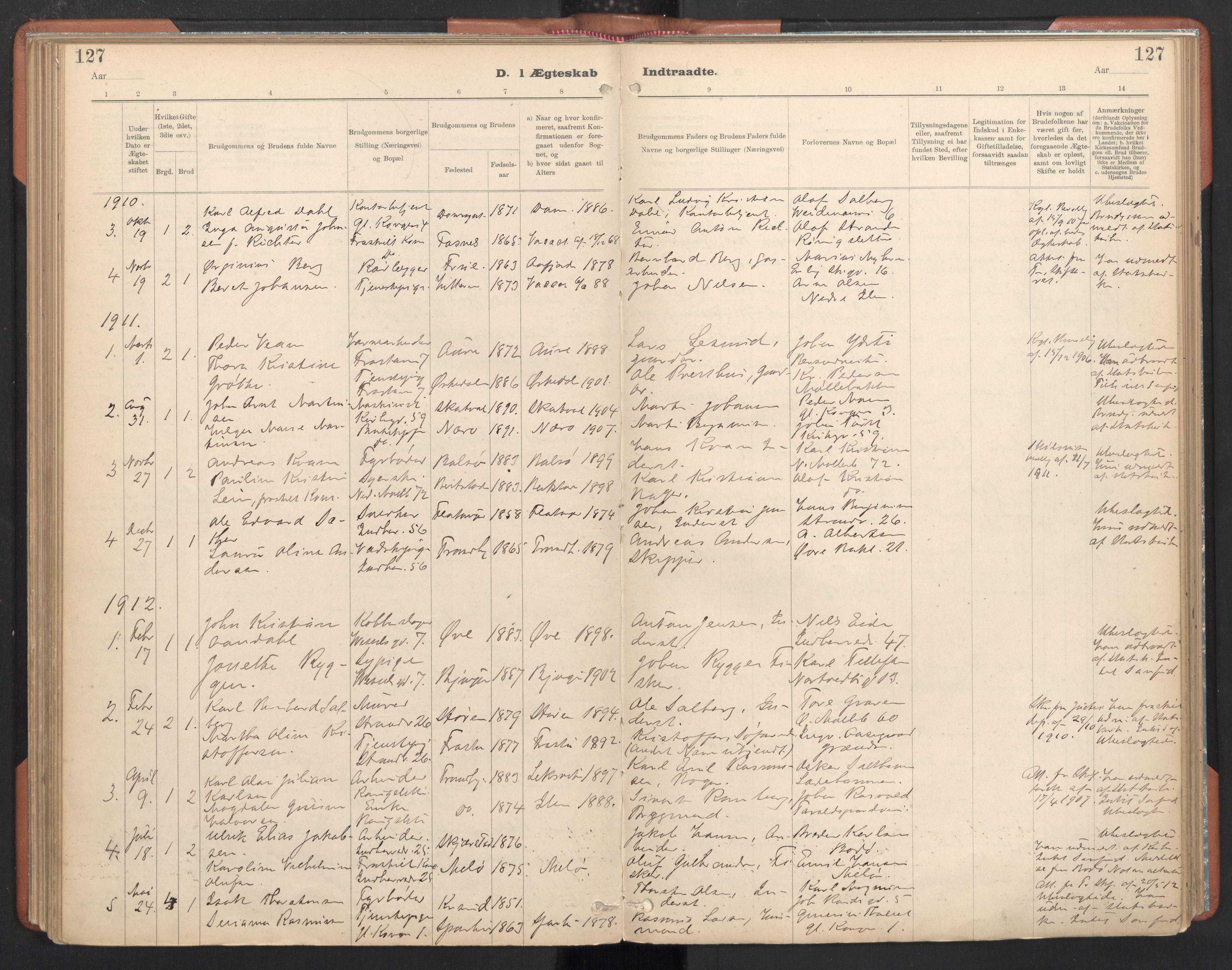 SAT, Ministerialprotokoller, klokkerbøker og fødselsregistre - Sør-Trøndelag, 605/L0244: Ministerialbok nr. 605A06, 1908-1954, s. 127