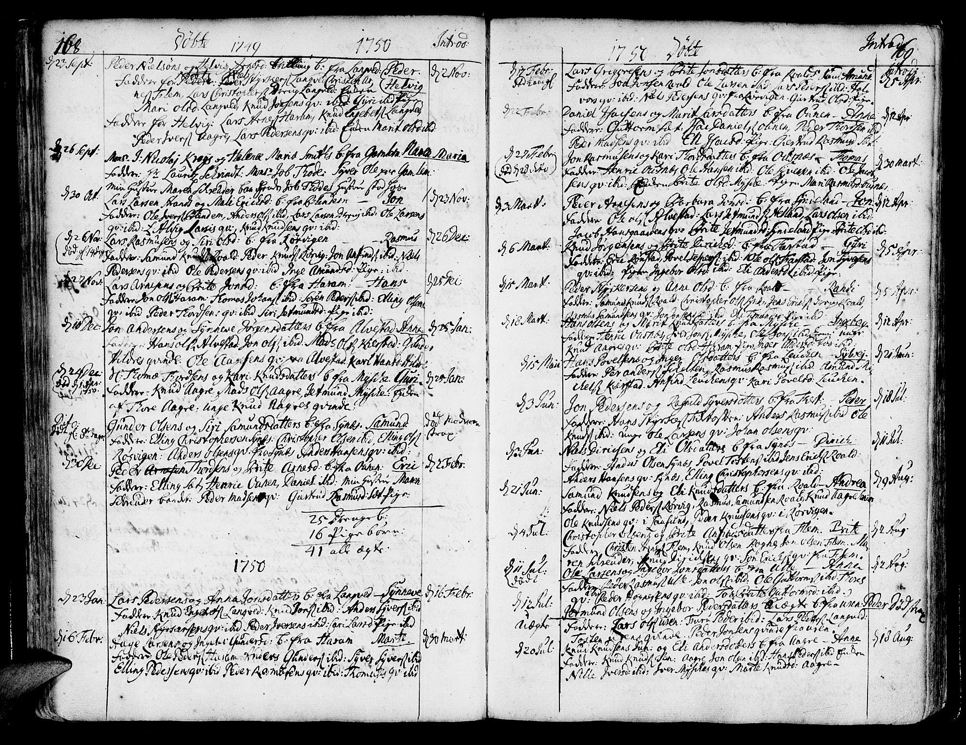 SAT, Ministerialprotokoller, klokkerbøker og fødselsregistre - Møre og Romsdal, 536/L0493: Ministerialbok nr. 536A02, 1739-1802, s. 168-169