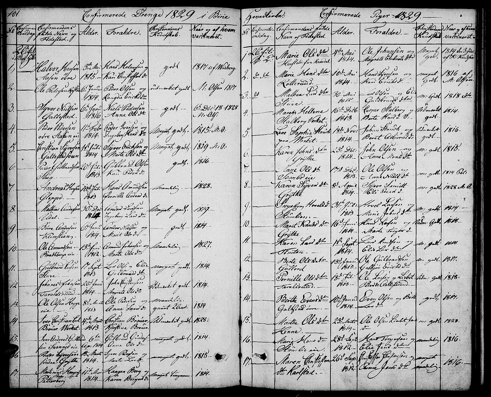 SAH, Biri prestekontor, Klokkerbok nr. 2, 1828-1842, s. 101