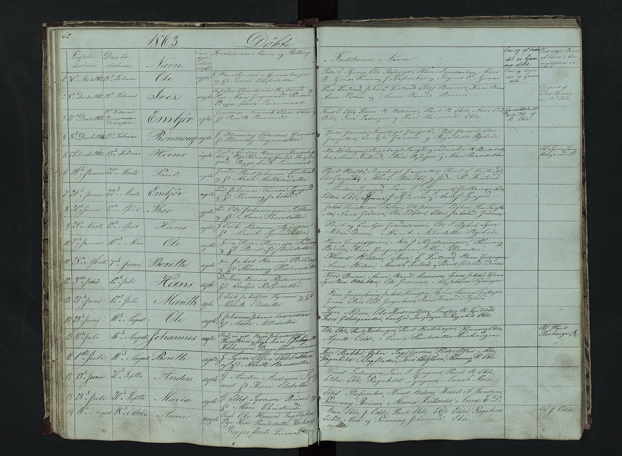 SAH, Lom prestekontor, L/L0014: Klokkerbok nr. 14, 1845-1876, s. 62-63