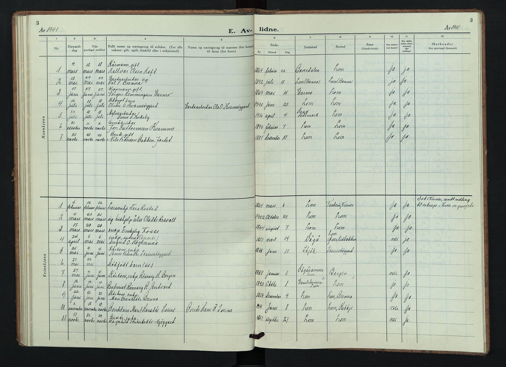 SAH, Lom prestekontor, L/L0009: Klokkerbok nr. 9, 1939-1947, s. 3