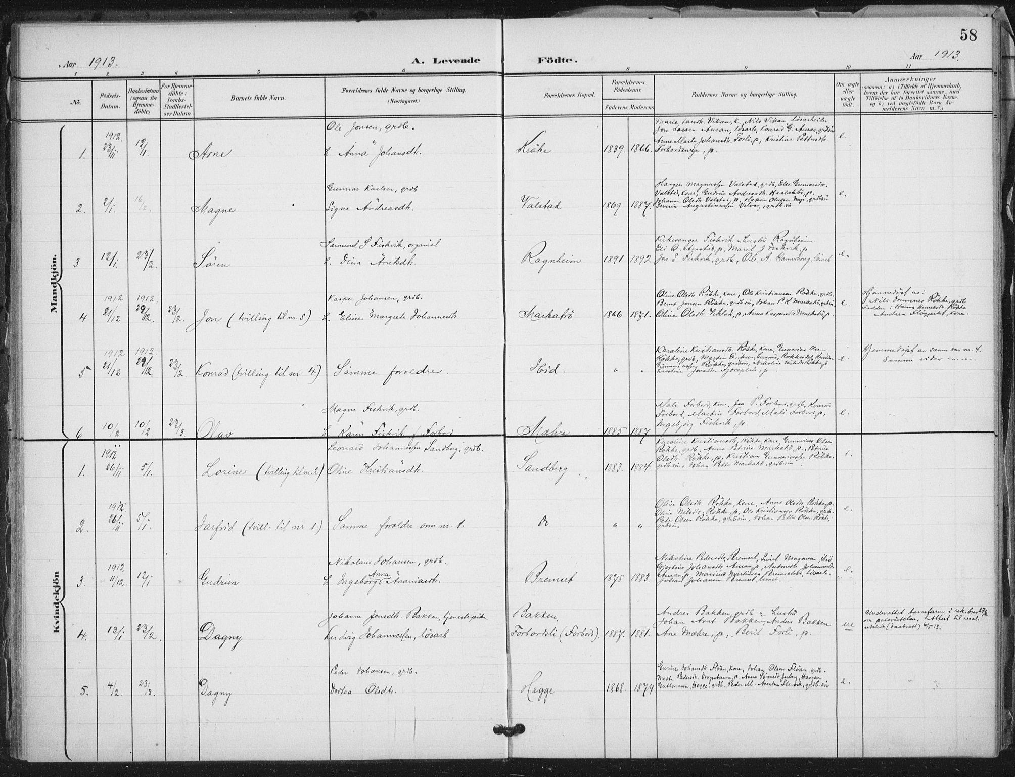 SAT, Ministerialprotokoller, klokkerbøker og fødselsregistre - Nord-Trøndelag, 712/L0101: Ministerialbok nr. 712A02, 1901-1916, s. 58