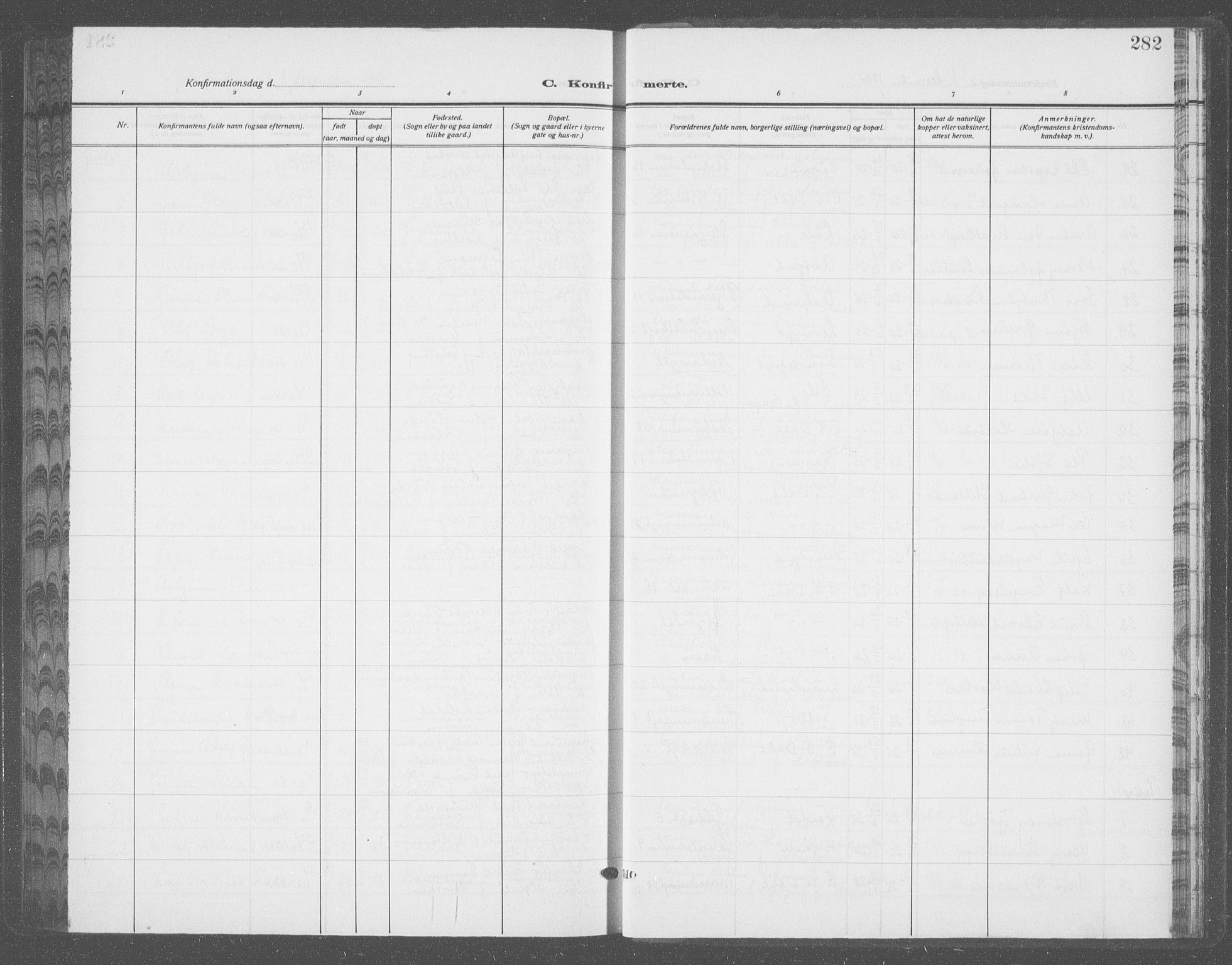 SAT, Ministerialprotokoller, klokkerbøker og fødselsregistre - Sør-Trøndelag, 601/L0099: Klokkerbok nr. 601C17, 1928-1941, s. 282