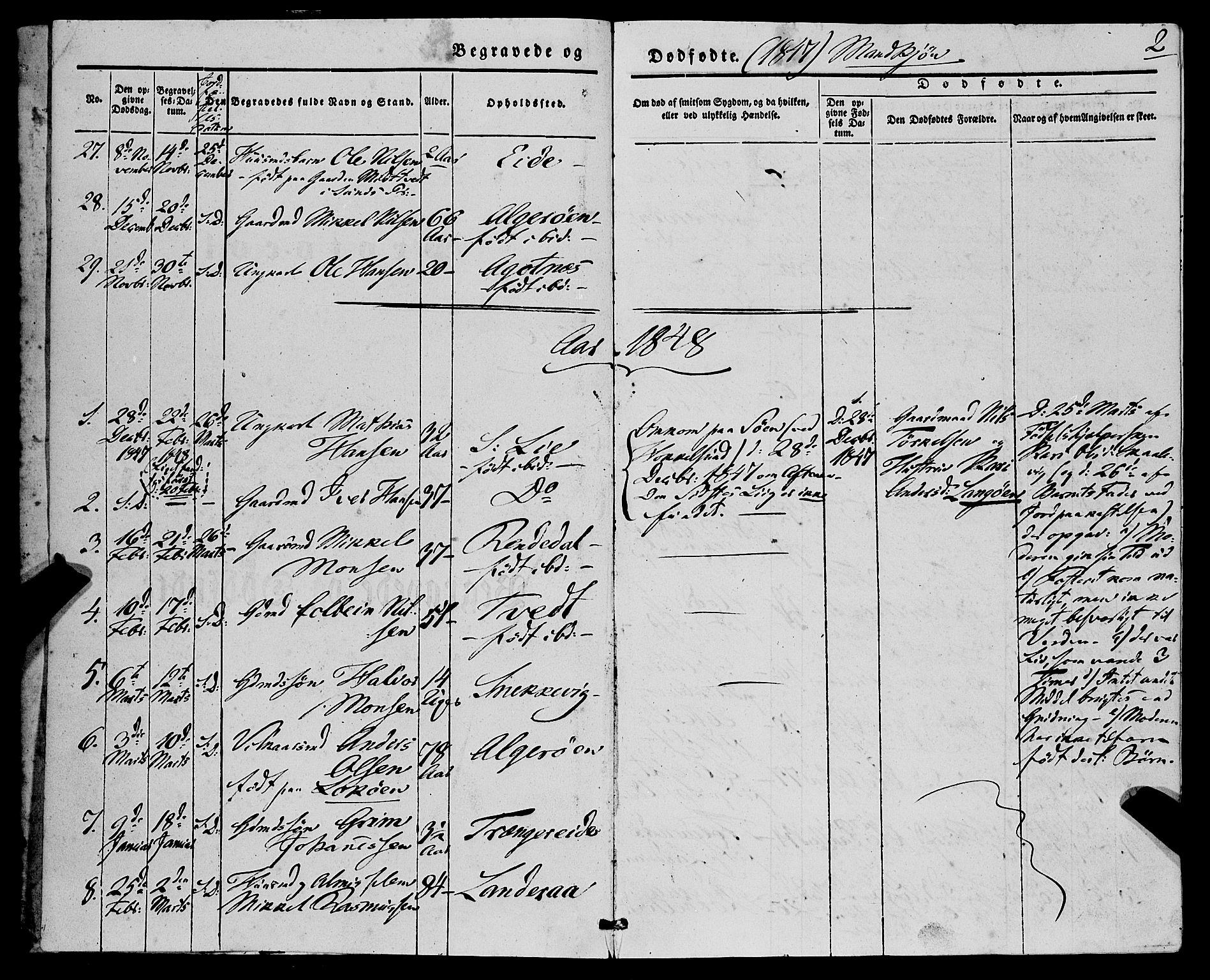 SAB, Fjell Sokneprestembete, H/Haa: Ministerialbok nr. A 7, 1847-1877, s. 2