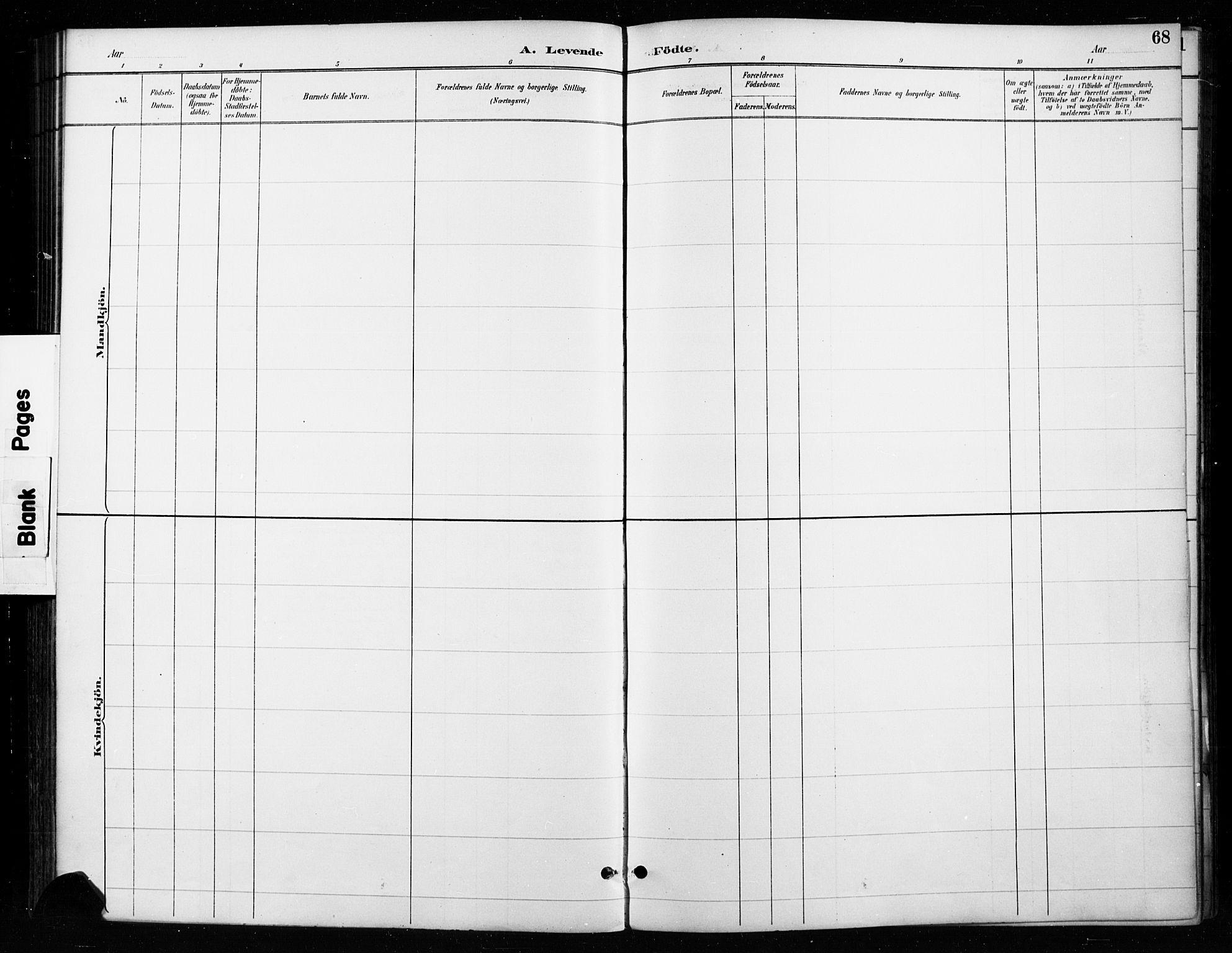 SAH, Gran prestekontor, Ministerialbok nr. 18, 1889-1899, s. 68