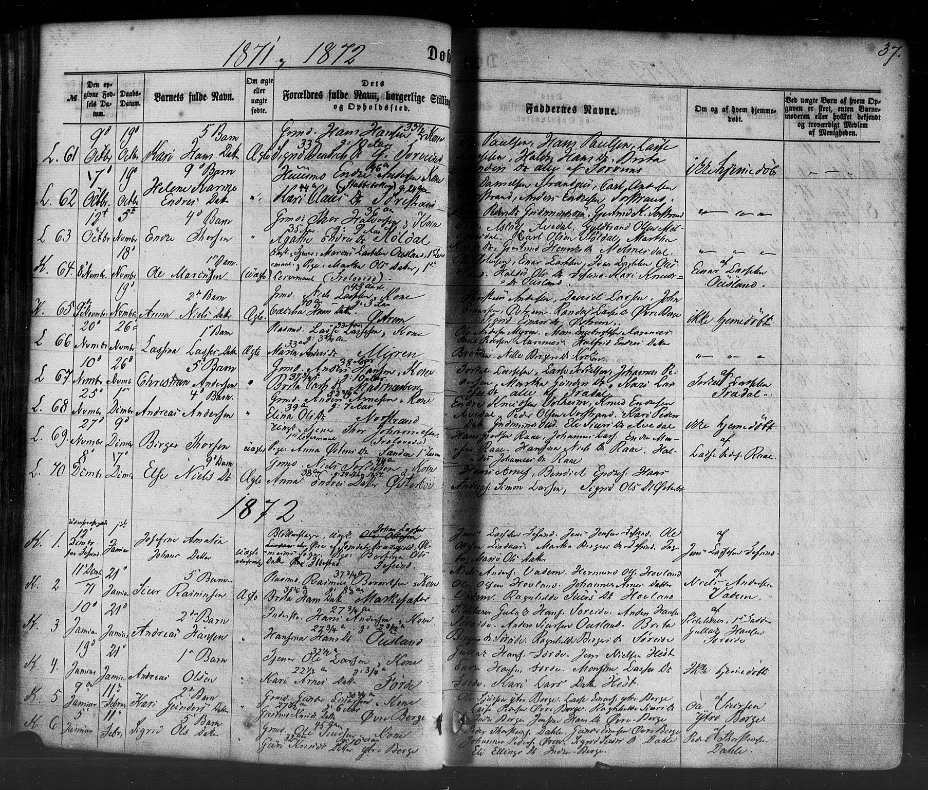 SAB, Lavik sokneprestembete, Ministerialbok nr. A 4, 1864-1881, s. 37