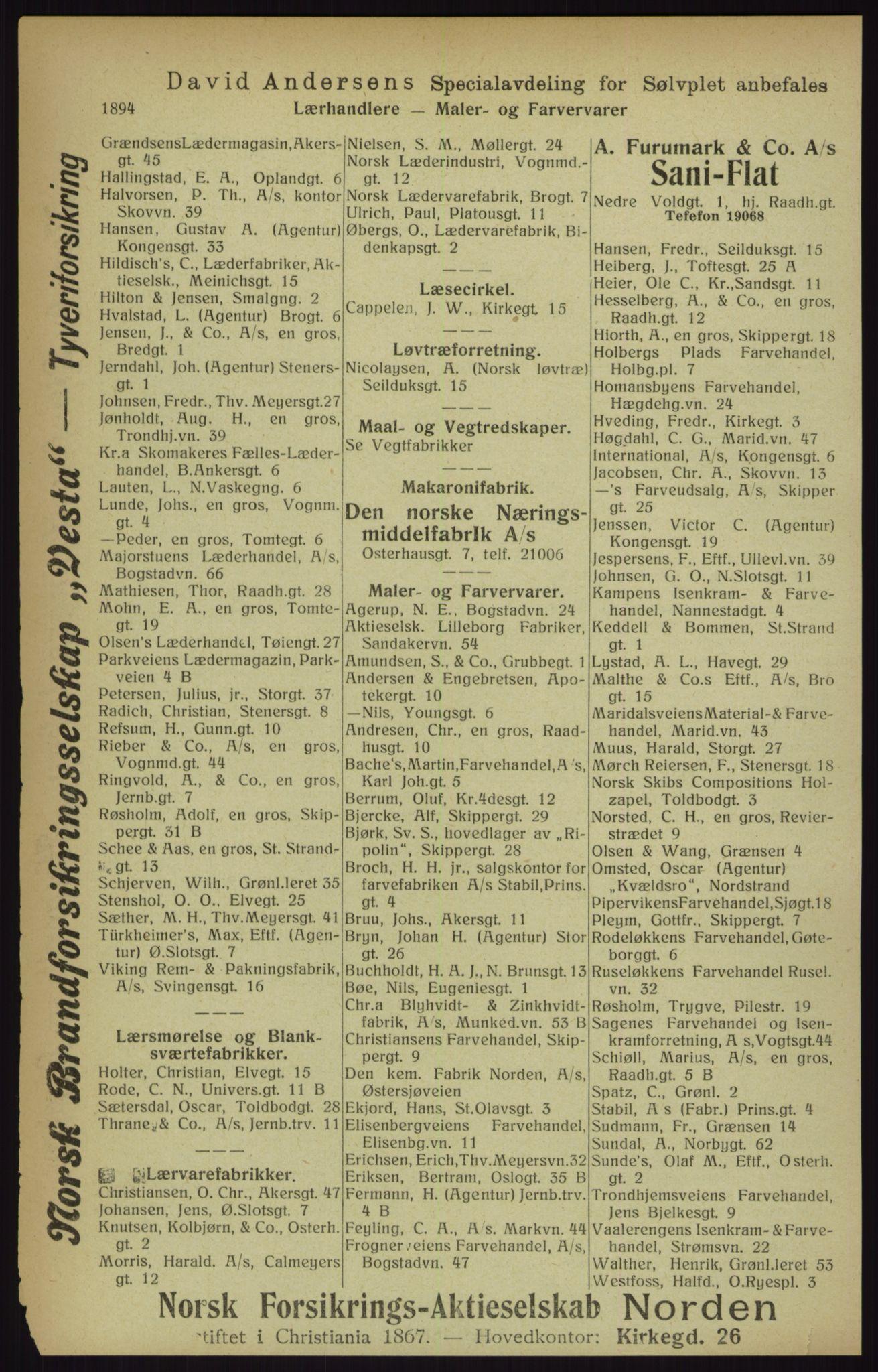 RA, Kristiania adressebok (publikasjon)*, 1916, s. 1894