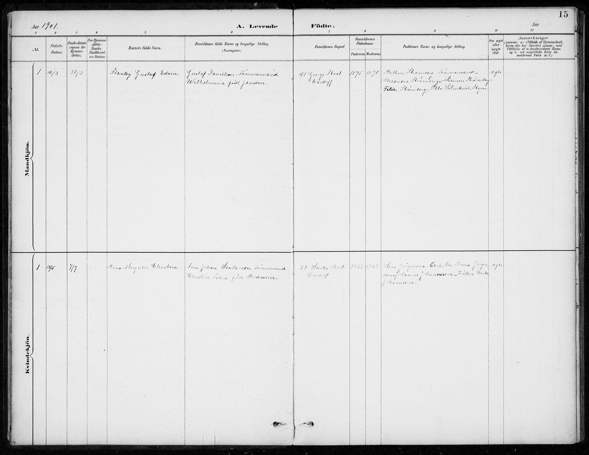 SAB, Den Norske Sjømannsmisjon i utlandet*, Ministerialbok nr. A 2, 1887-1932, s. 15