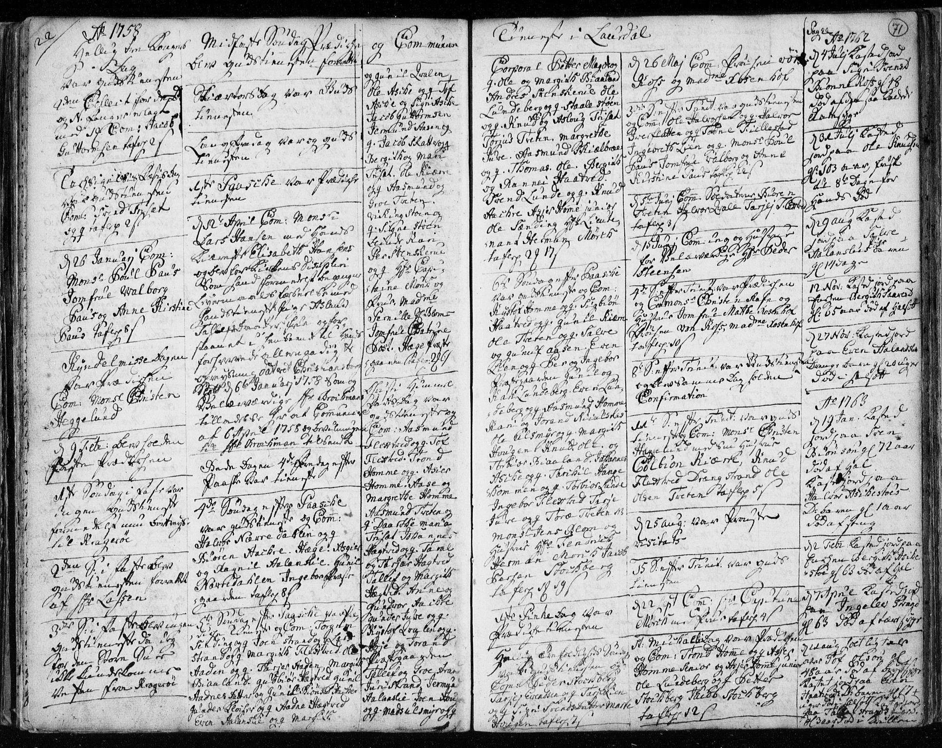 SAKO, Lårdal kirkebøker, F/Fa/L0003: Ministerialbok nr. I 3, 1754-1790, s. 71