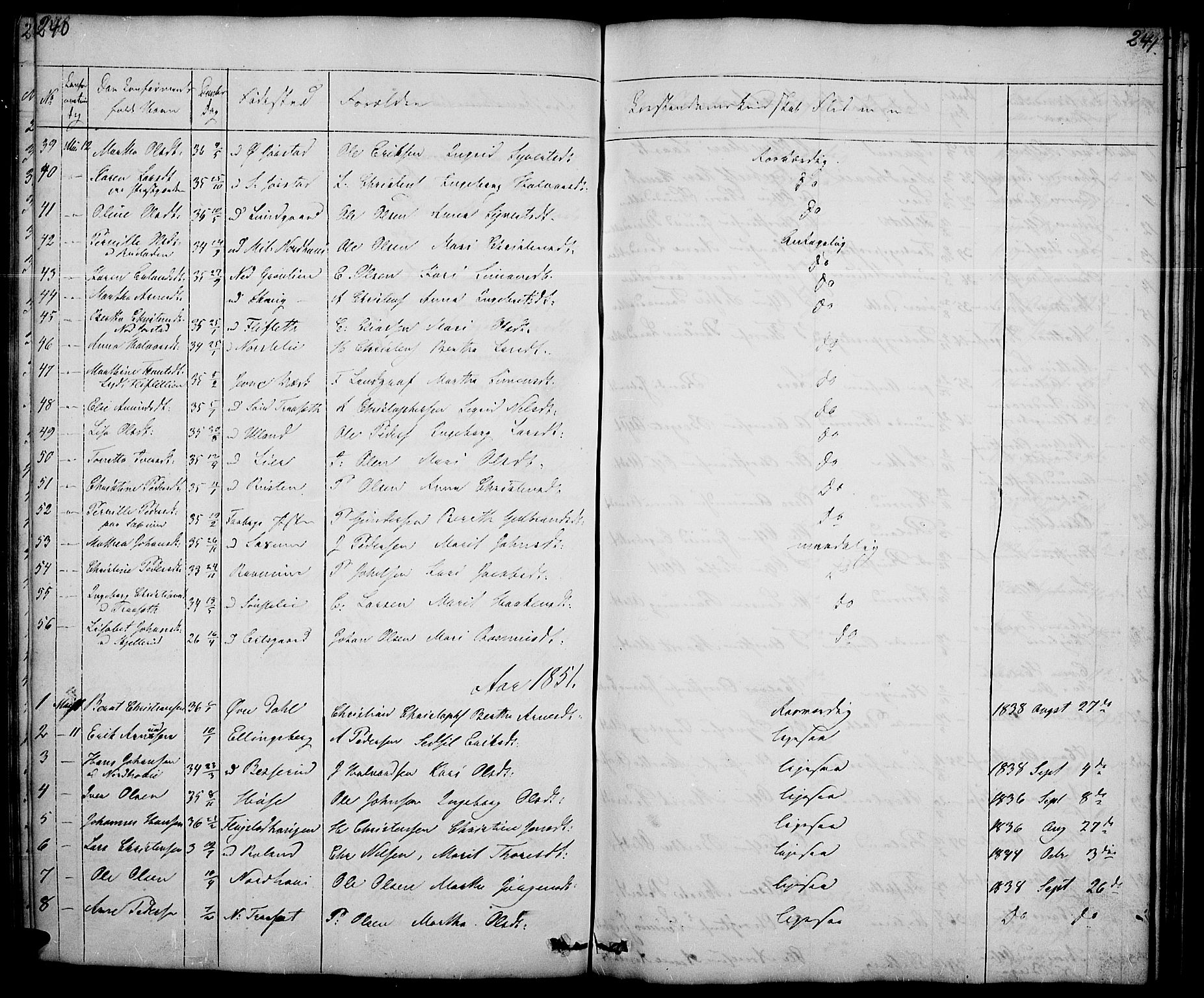 SAH, Fåberg prestekontor, Klokkerbok nr. 5, 1837-1864, s. 240-241
