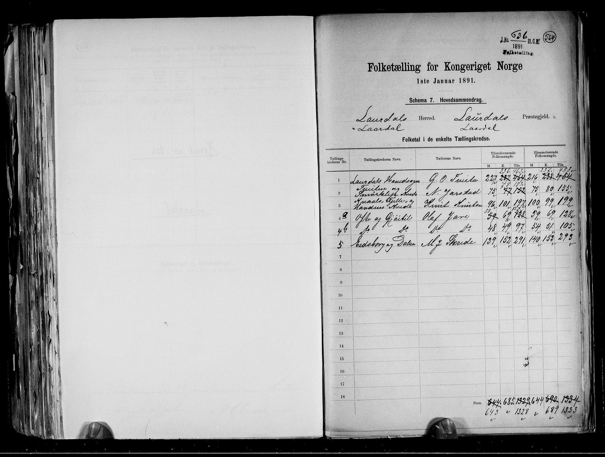 RA, Folketelling 1891 for 0833 Lårdal herred, 1891, s. 2