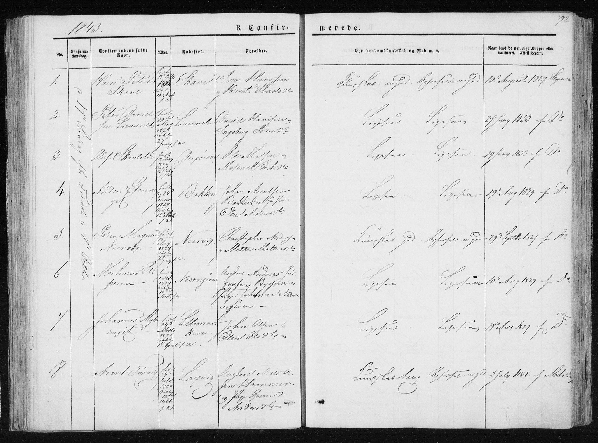 SAT, Ministerialprotokoller, klokkerbøker og fødselsregistre - Nord-Trøndelag, 733/L0323: Ministerialbok nr. 733A02, 1843-1870, s. 92