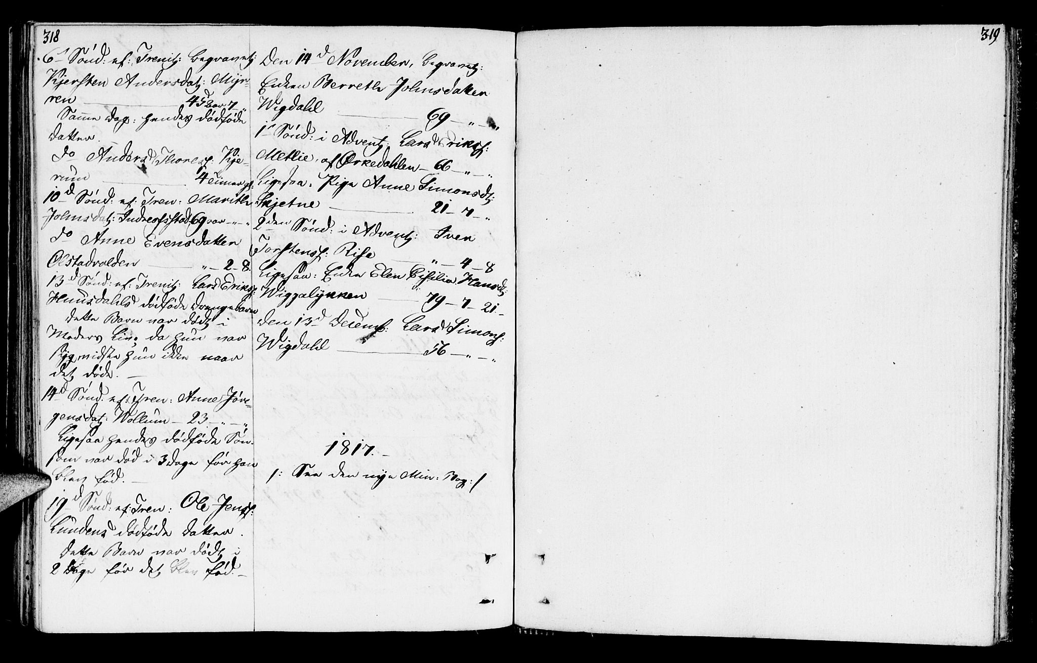 SAT, Ministerialprotokoller, klokkerbøker og fødselsregistre - Sør-Trøndelag, 665/L0769: Ministerialbok nr. 665A04, 1803-1816, s. 318-319