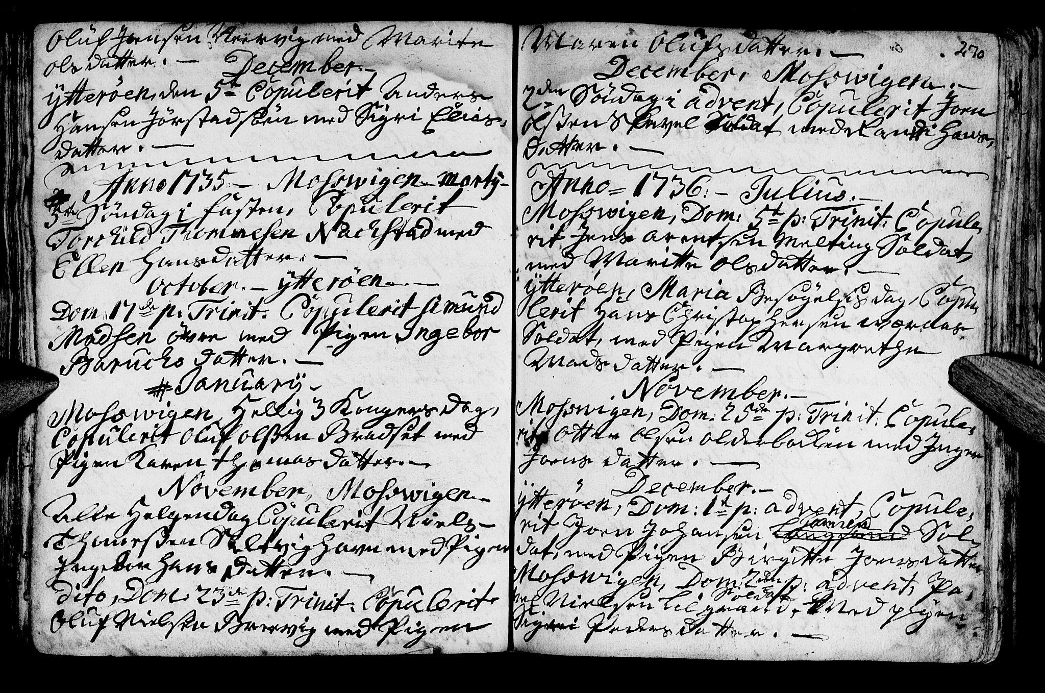 SAT, Ministerialprotokoller, klokkerbøker og fødselsregistre - Nord-Trøndelag, 722/L0215: Ministerialbok nr. 722A02, 1718-1755, s. 270